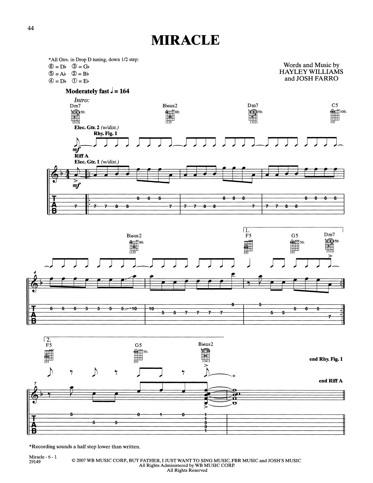 Miracle (Guitar Tab)