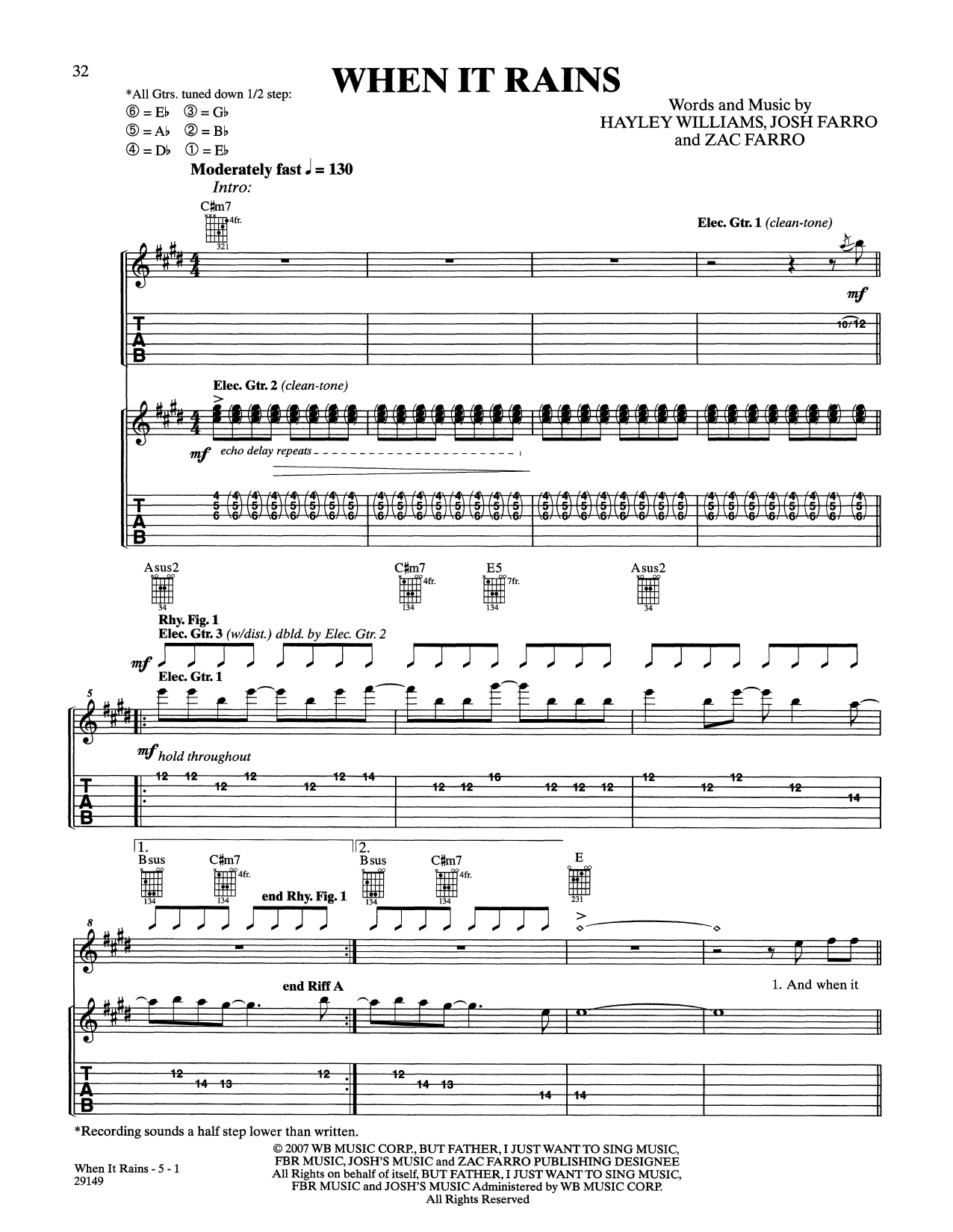 The Only Exception sheet music by Paramore Easy Guitar