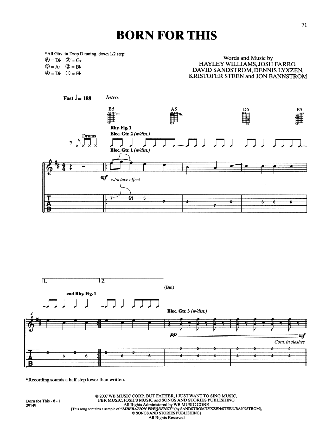 Born For This (Guitar Tab)