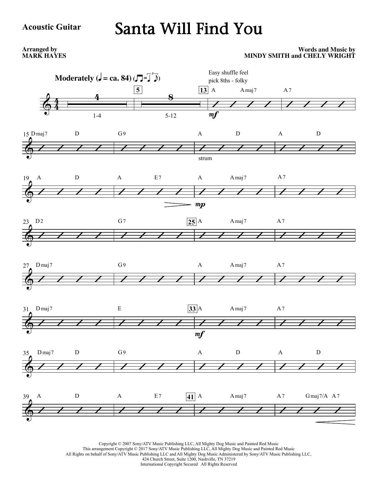 Santa Will Find You (complete set of parts) sheet music for orchestra/band by Mark Hayes, Chely Wright and Mindy Smith. Score Image Preview.