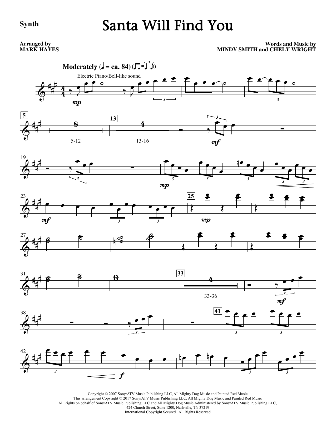 Santa Will Find You - Synthesizer Sheet Music