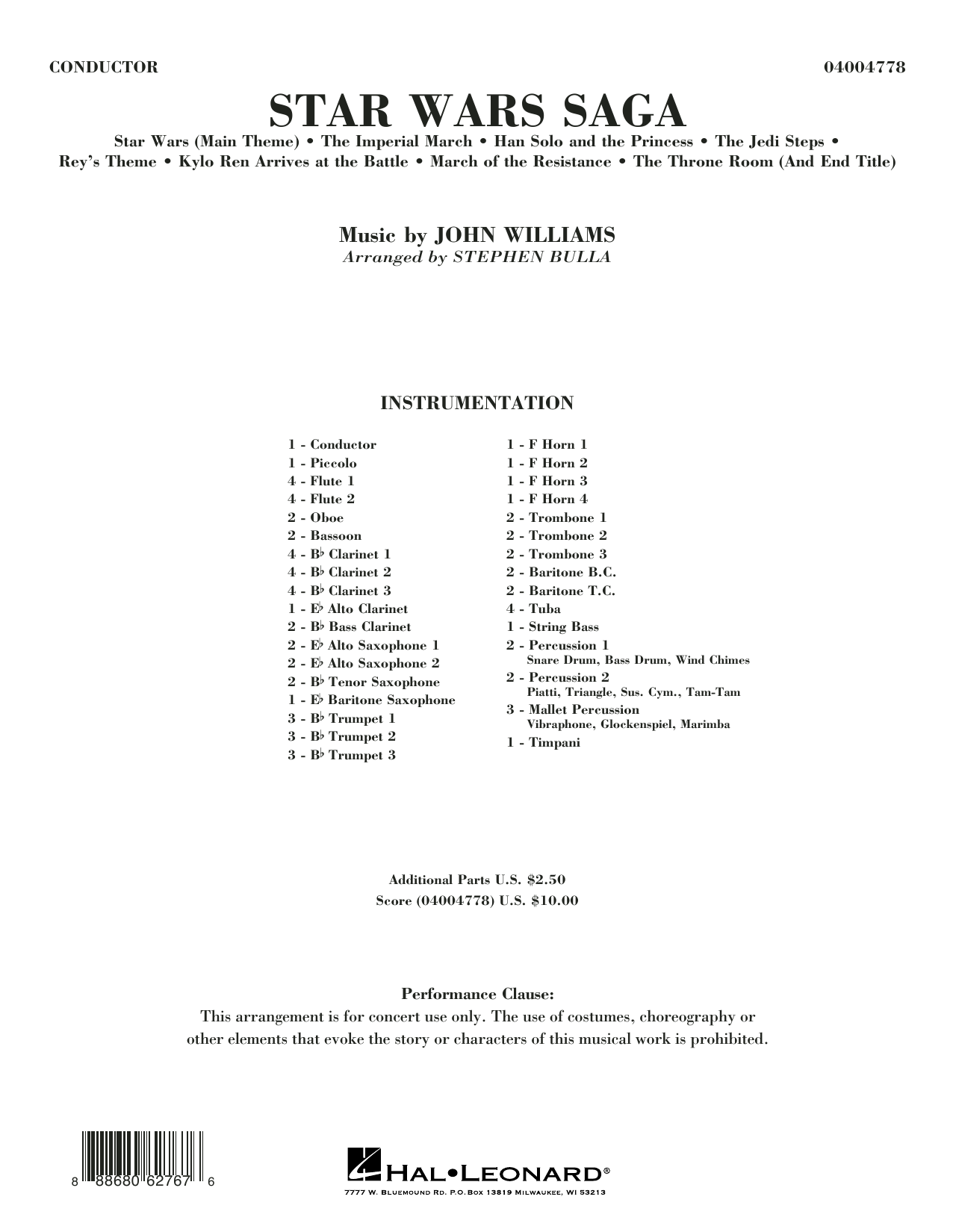 Star Wars Saga - Conductor Score (Full Score) Sheet Music