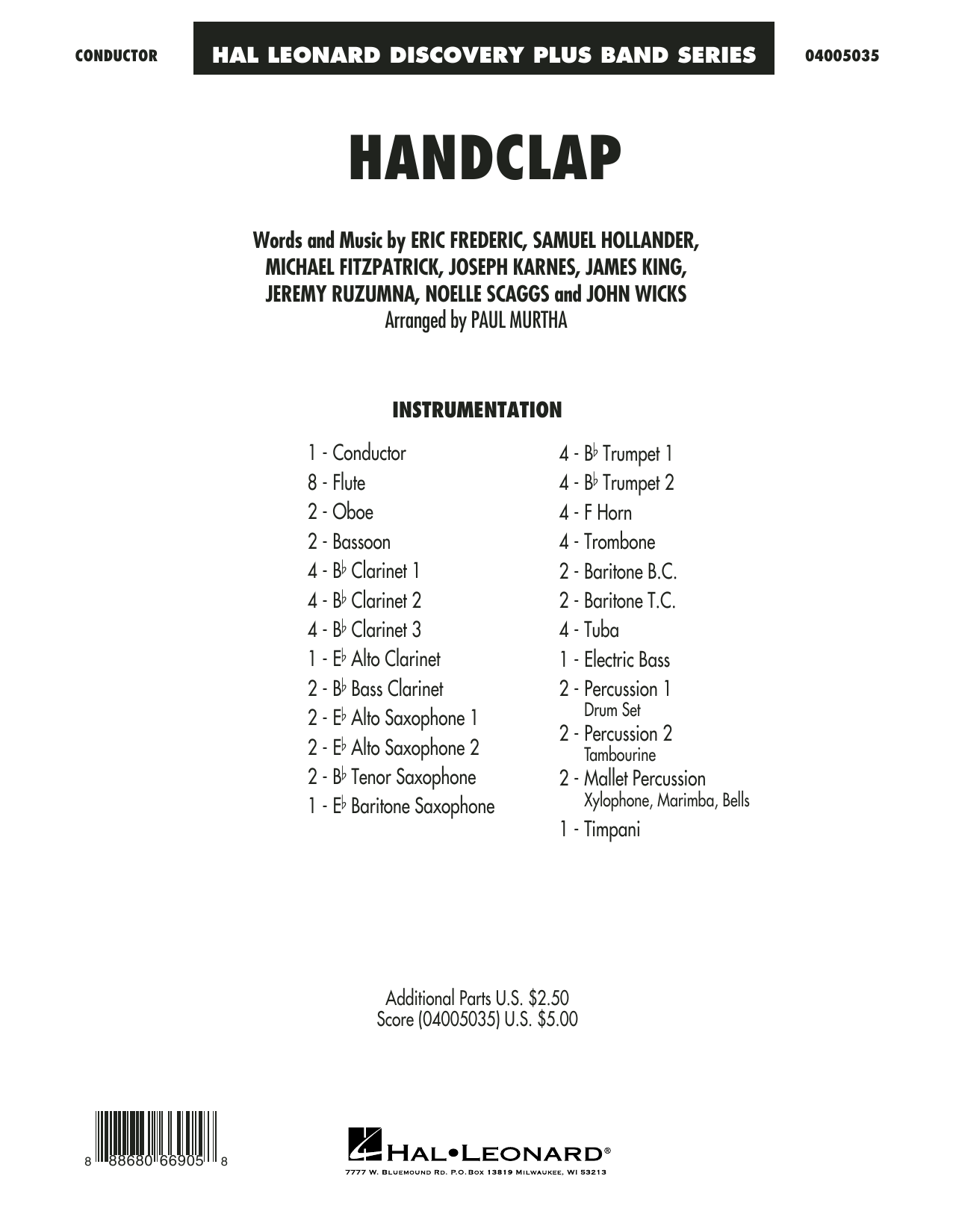 HandClap (COMPLETE) sheet music for concert band by Sam Hollander, Eric Frederic, Jeremy Ruzumna, Michael Fitzpatrick, Noelle Scaggs and Paul Murtha. Score Image Preview.