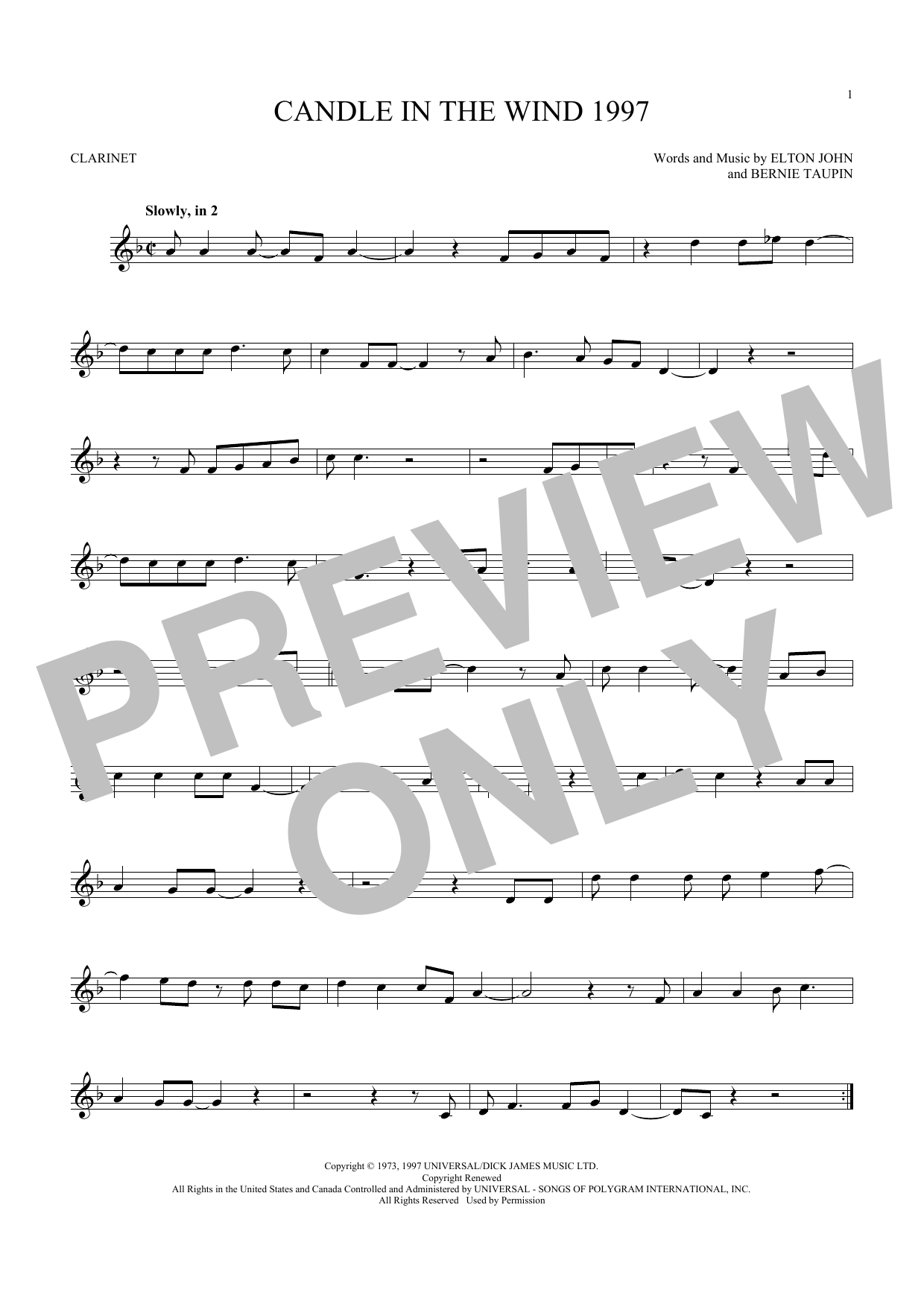 Elton John - Candle In The Wind 1997 sheet music