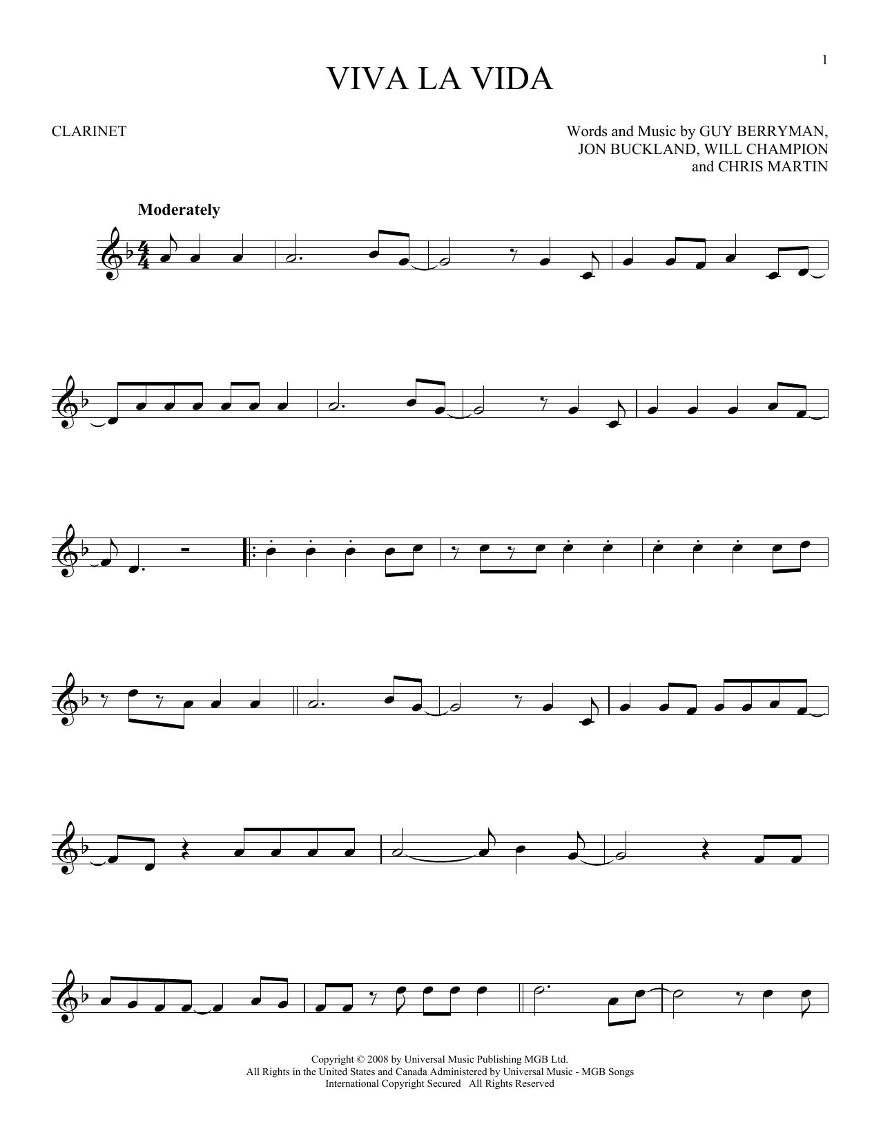 Viva La Vida (Clarinet Solo)