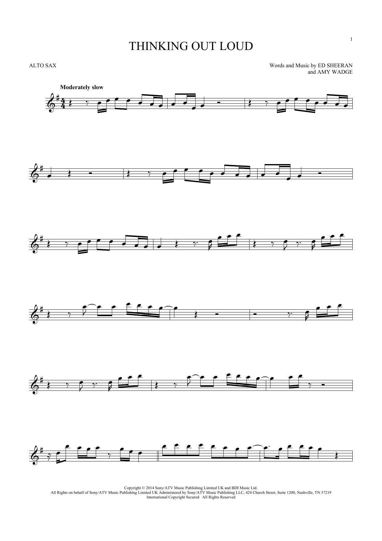 Thinking Out Loud (Alto Sax Solo) - Print Sheet Music Now