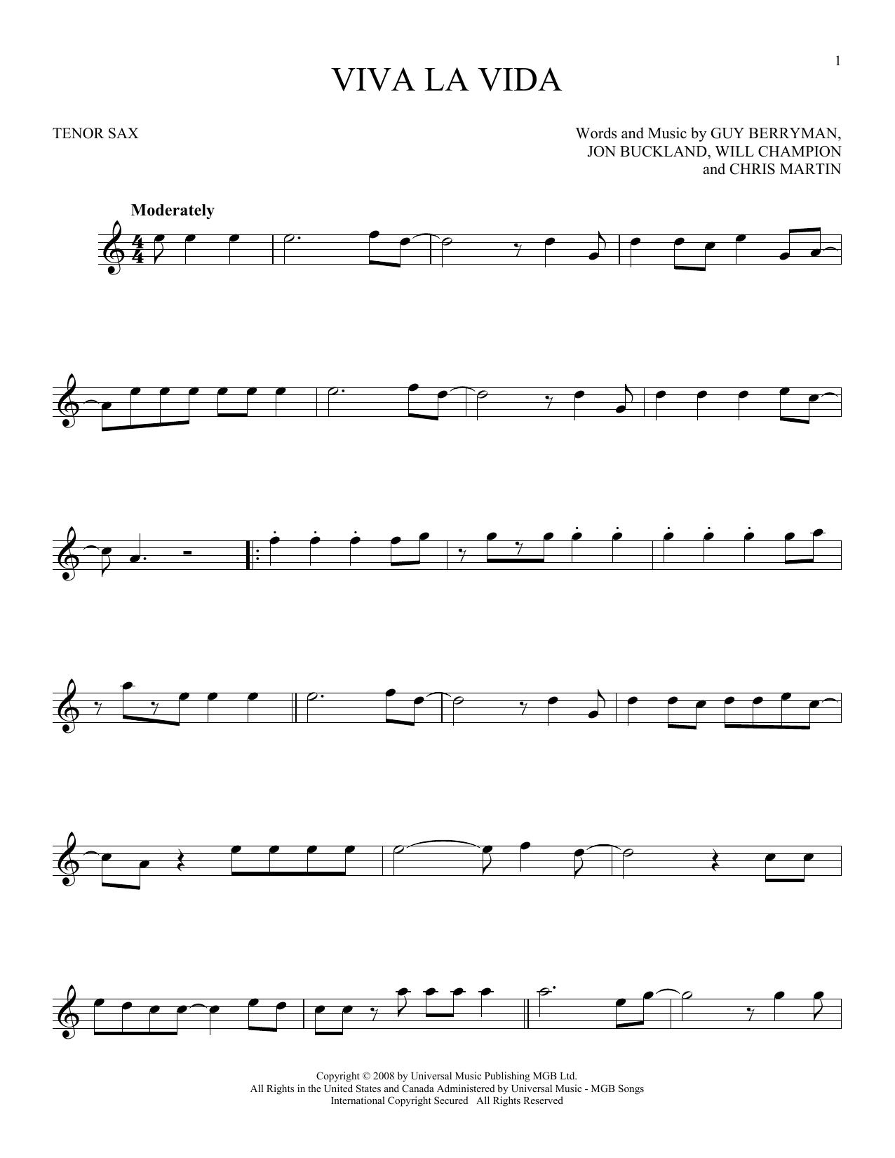 Viva La Vida (Tenor Sax Solo)