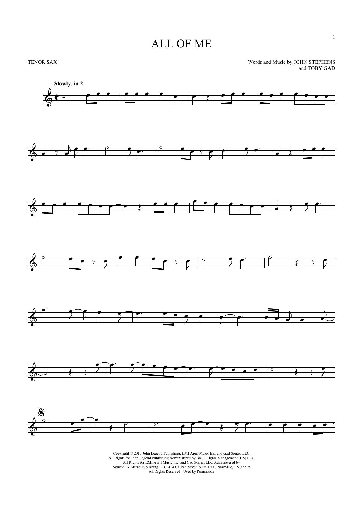 All Of Me (Tenor Sax Solo)
