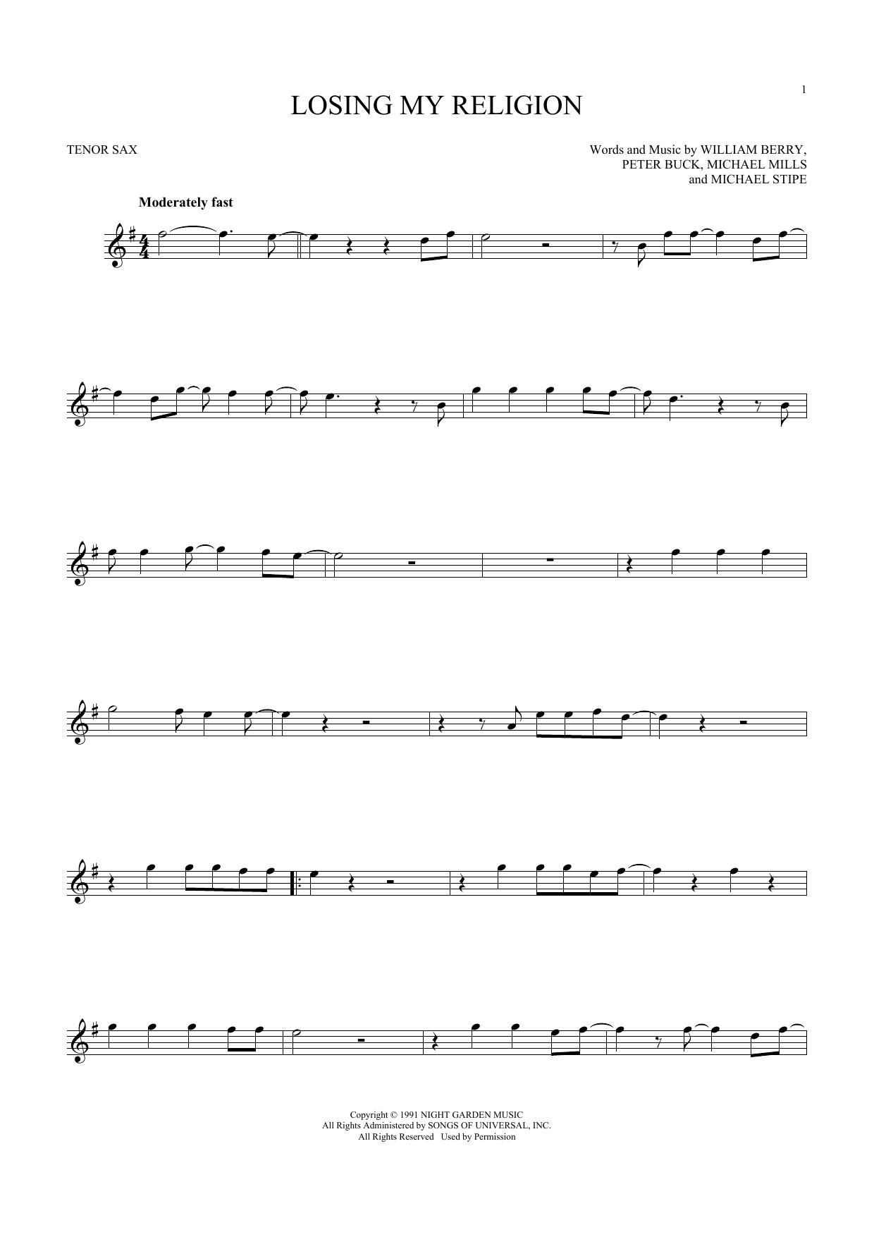 Losing My Religion (Tenor Saxophone)