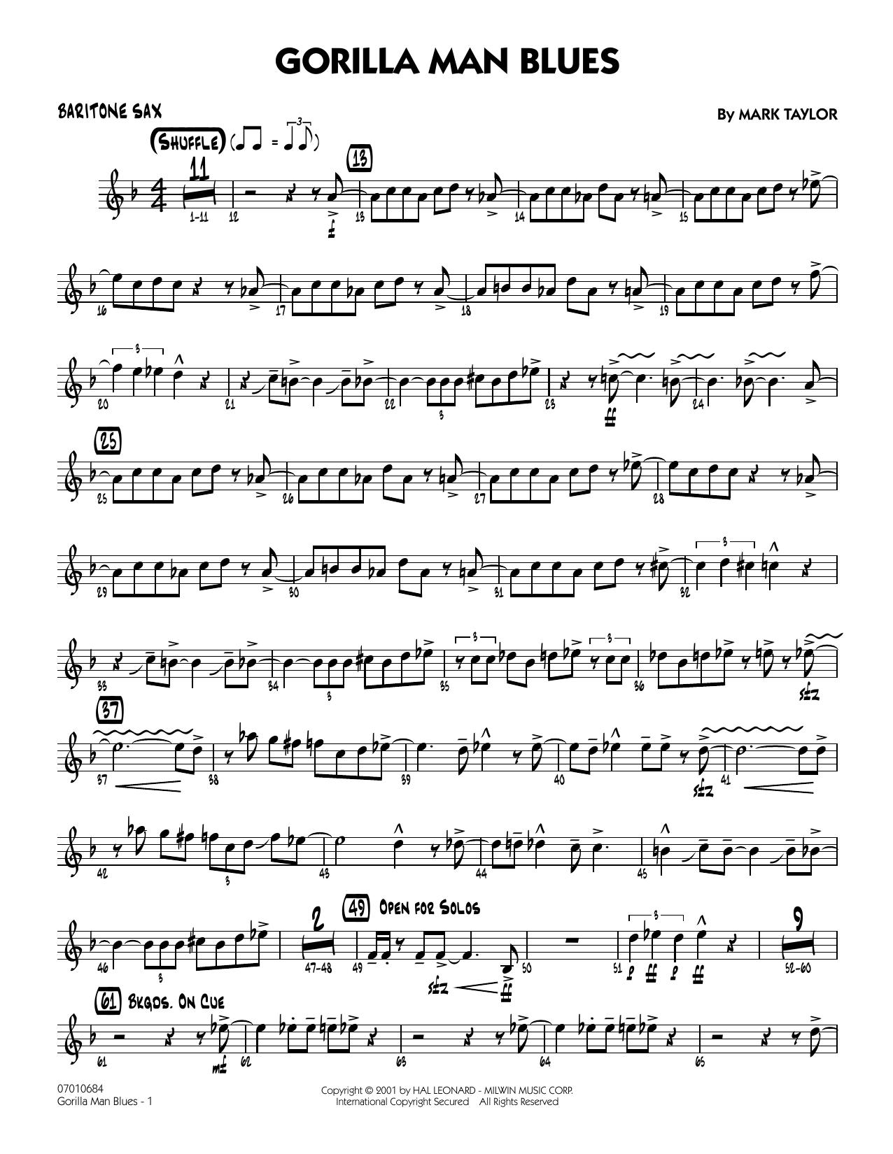 Gorilla Man Blues - Baritone Sax (Jazz Ensemble)