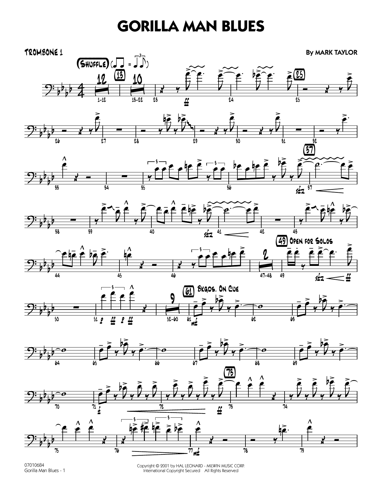 Gorilla Man Blues - Trombone 1 Sheet Music
