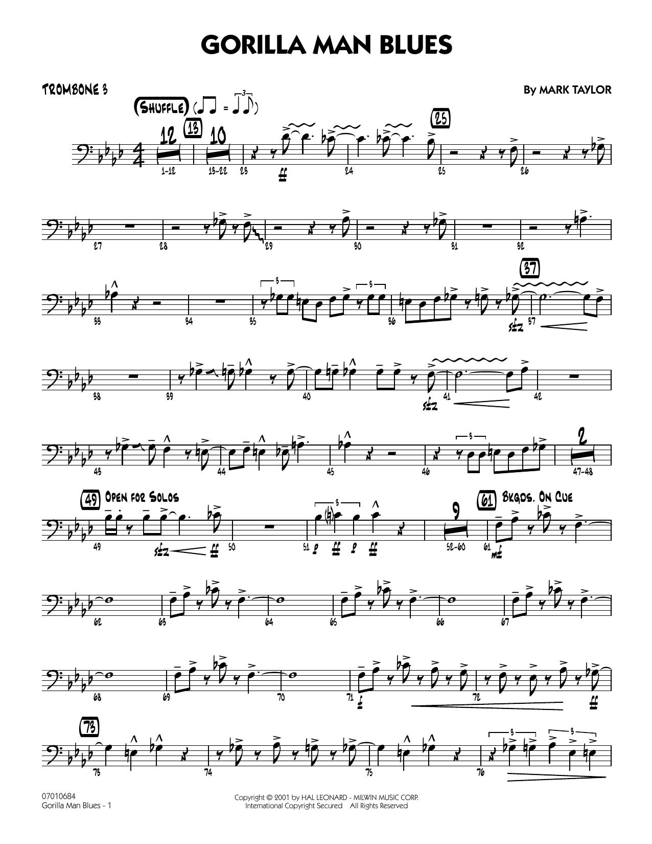 Gorilla Man Blues - Trombone 3 Sheet Music