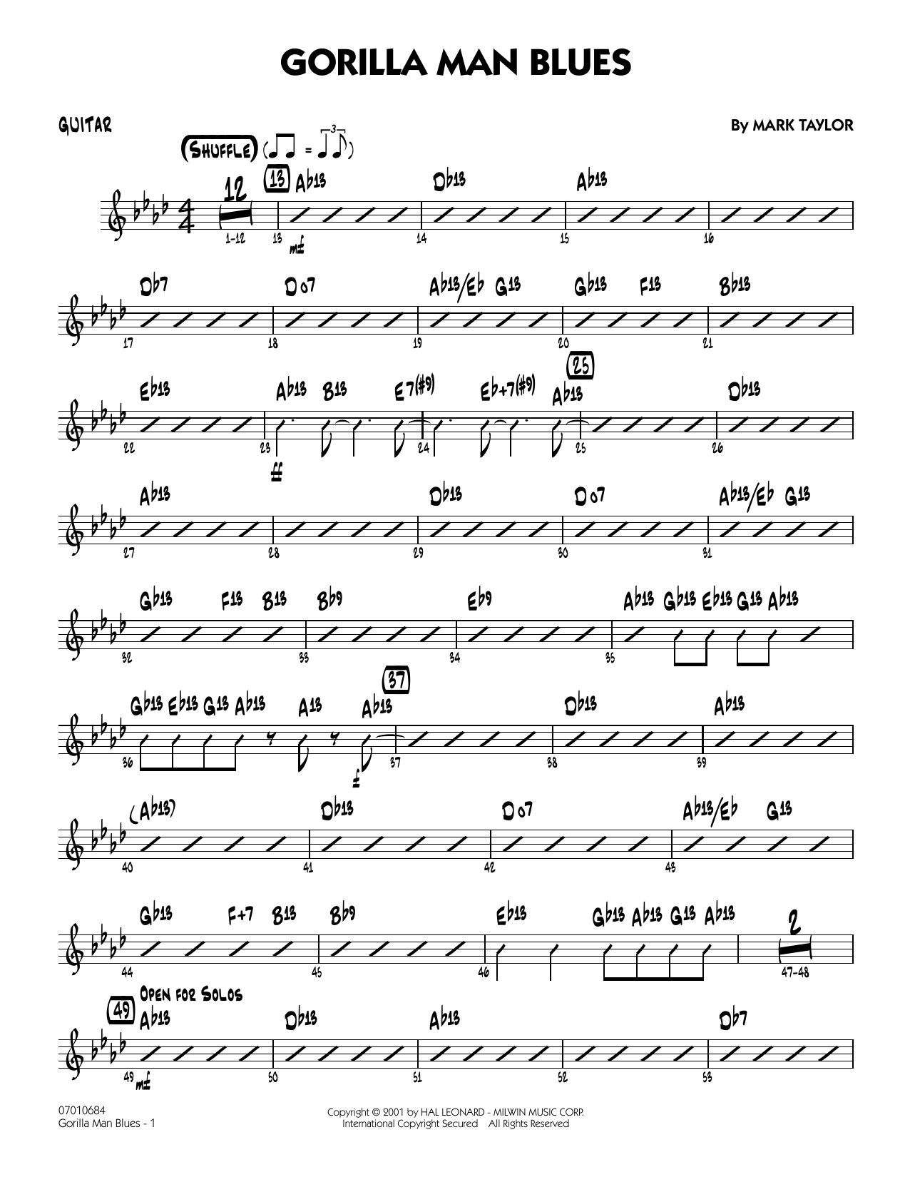 Gorilla Man Blues - Guitar Sheet Music