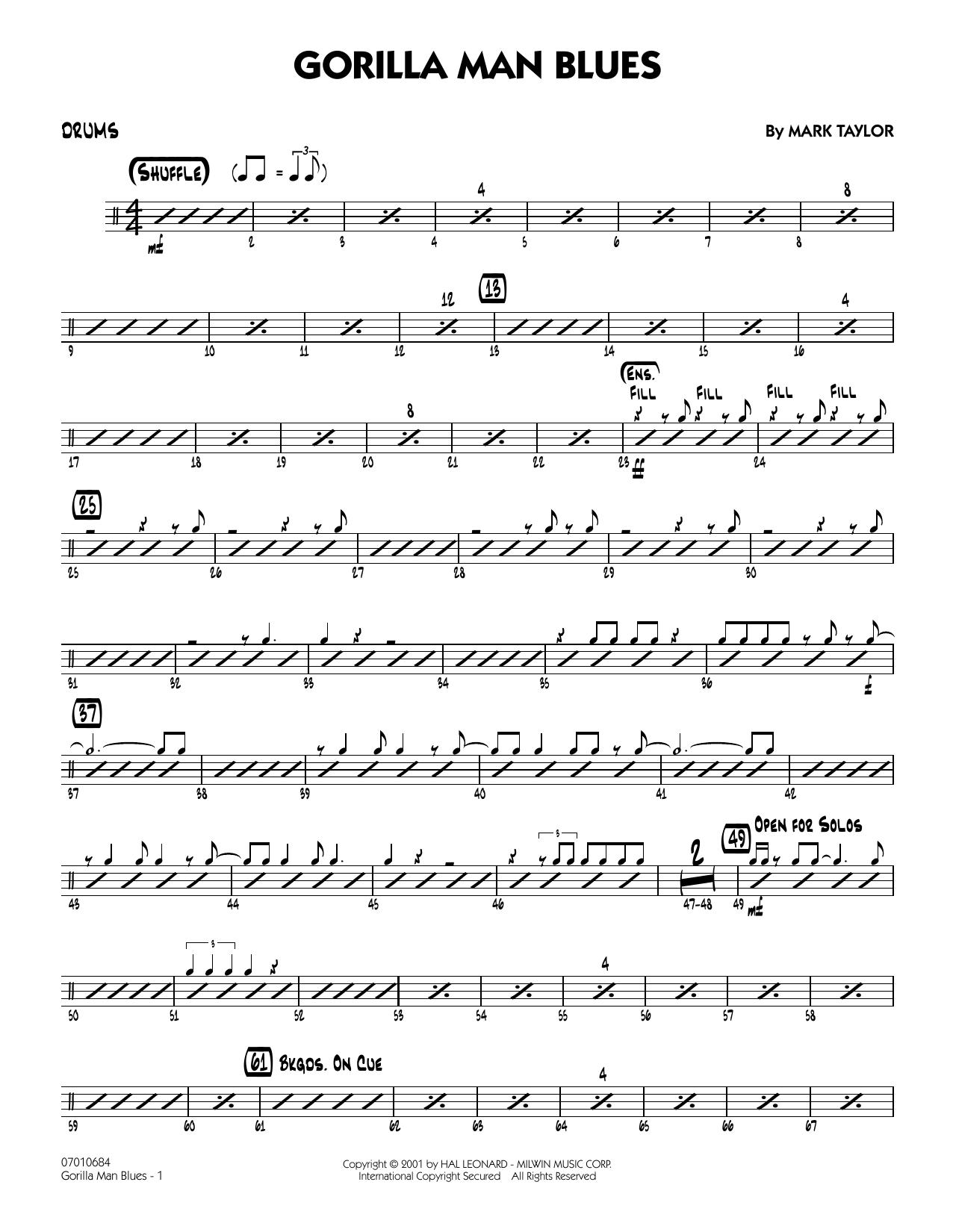 Gorilla Man Blues - Drums Sheet Music