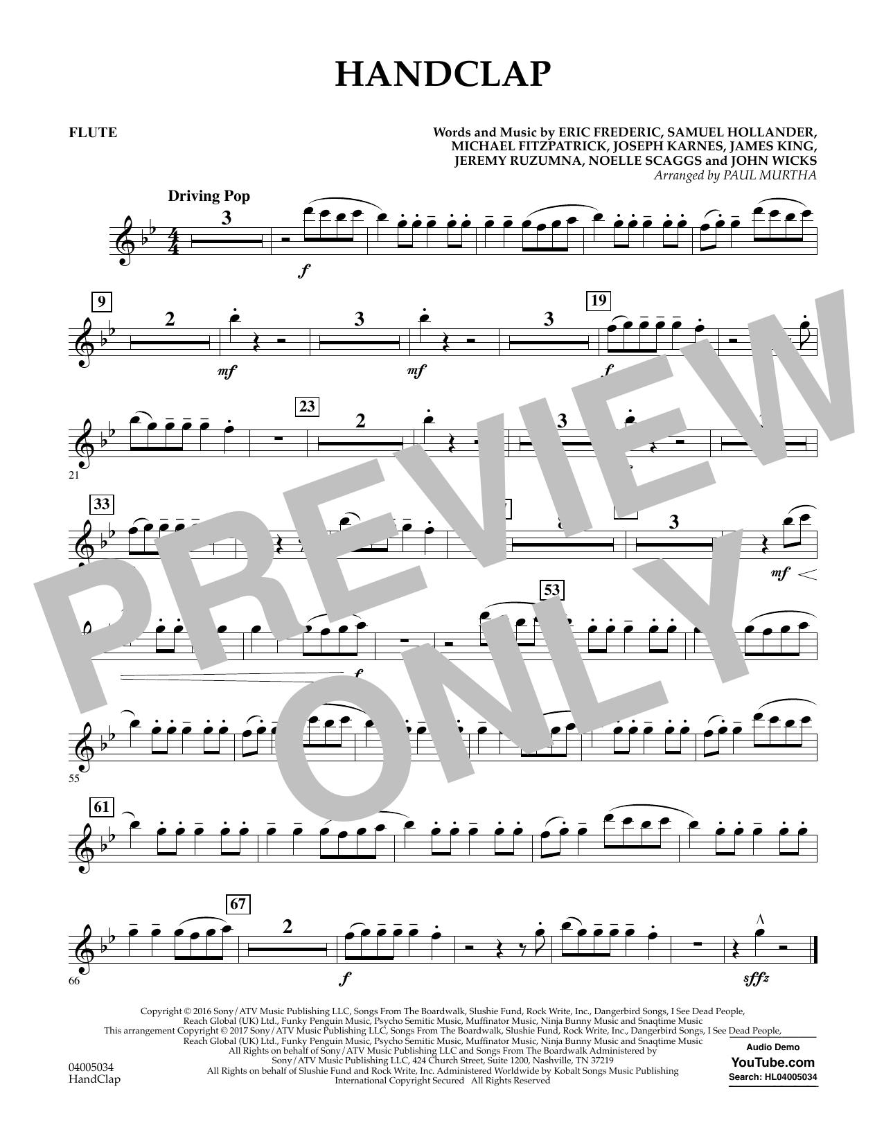HandClap - Flute Sheet Music