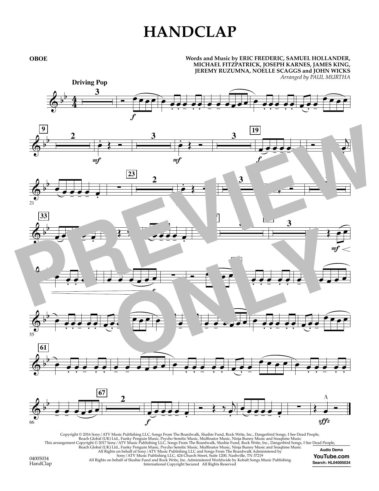 HandClap - Oboe Sheet Music