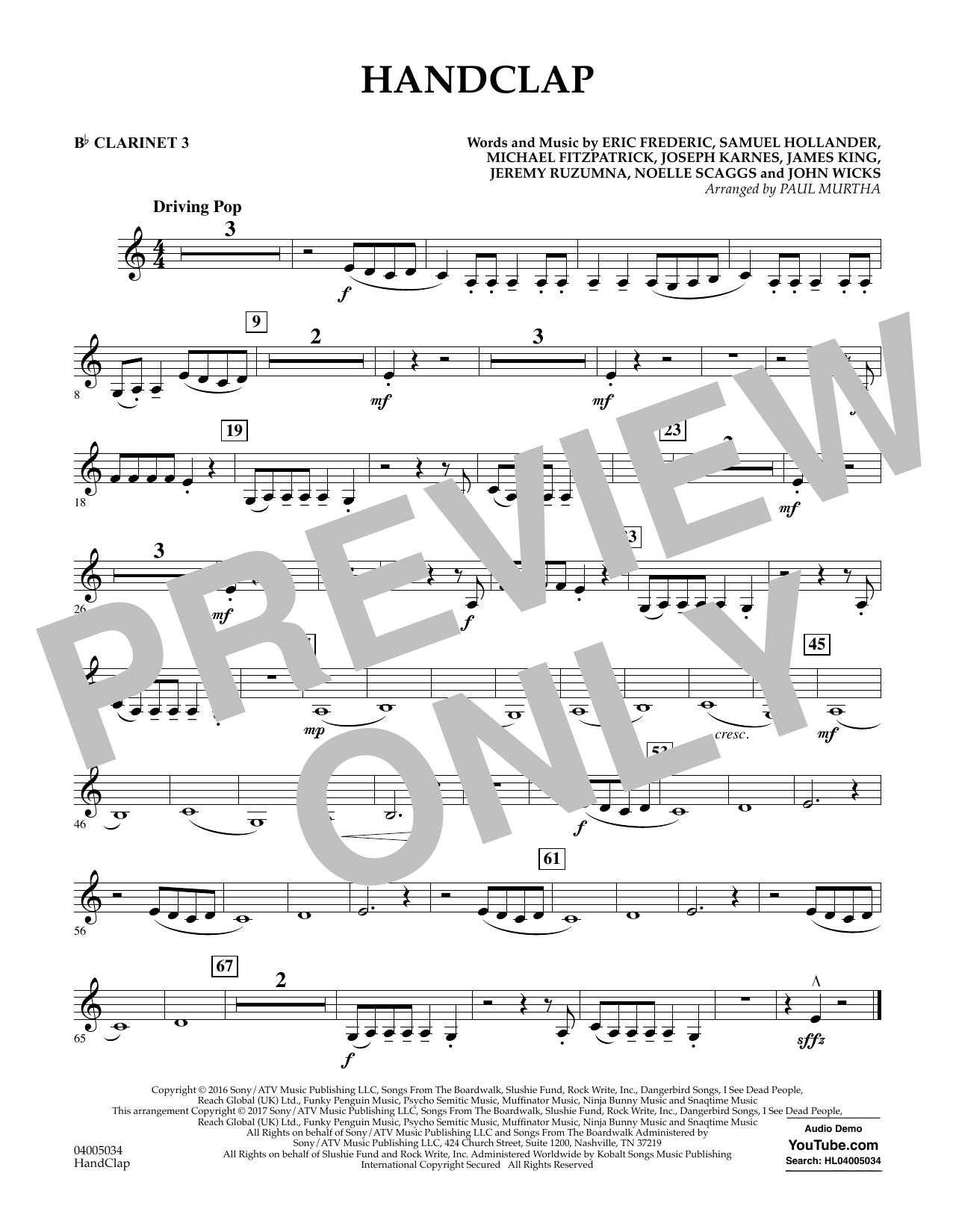 HandClap - Bb Clarinet 3 (Concert Band)