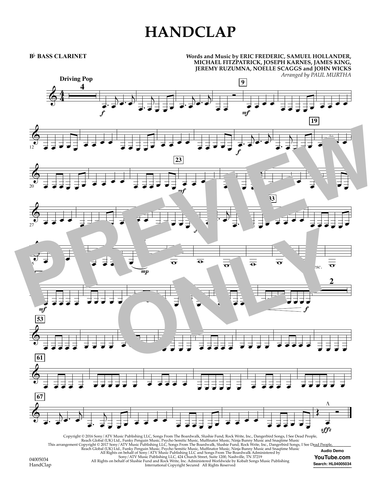 HandClap - Bb Bass Clarinet Sheet Music