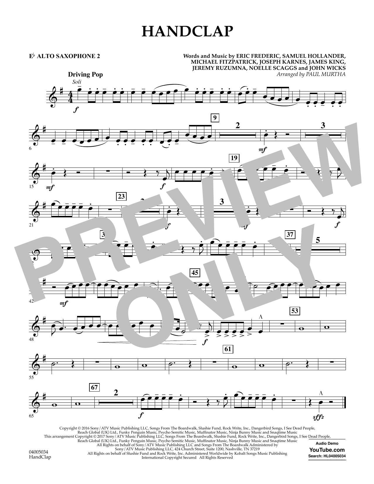 HandClap - Eb Alto Saxophone 2 Sheet Music