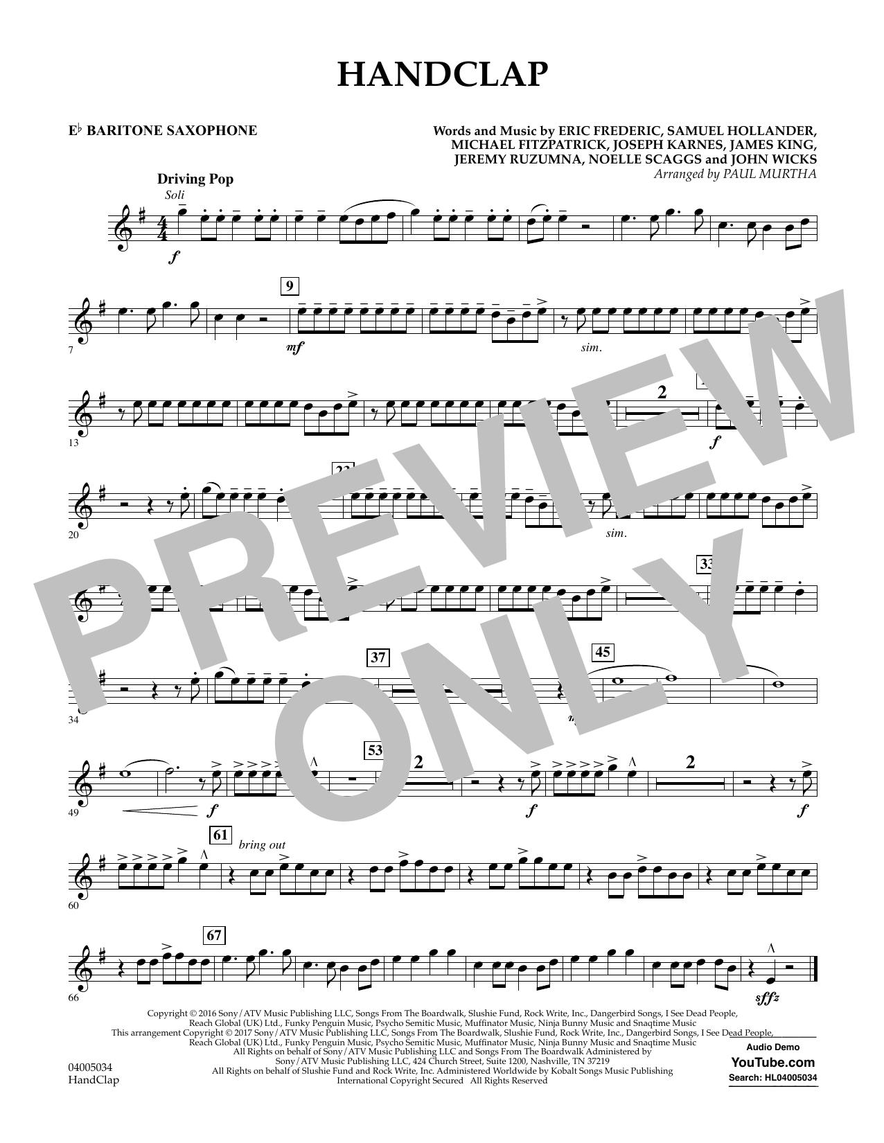 HandClap - Eb Baritone Saxophone Sheet Music