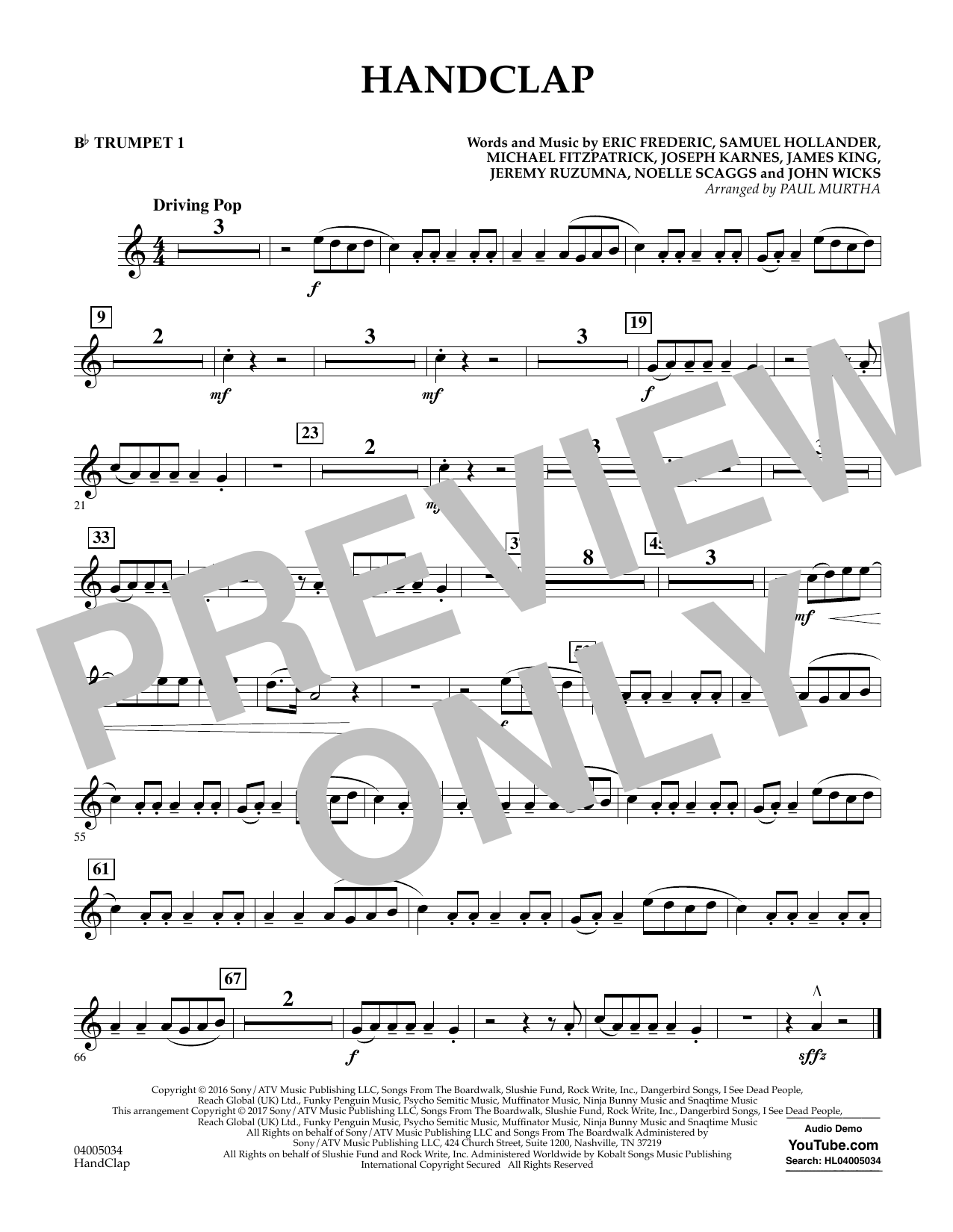 HandClap - Bb Trumpet 1 Sheet Music