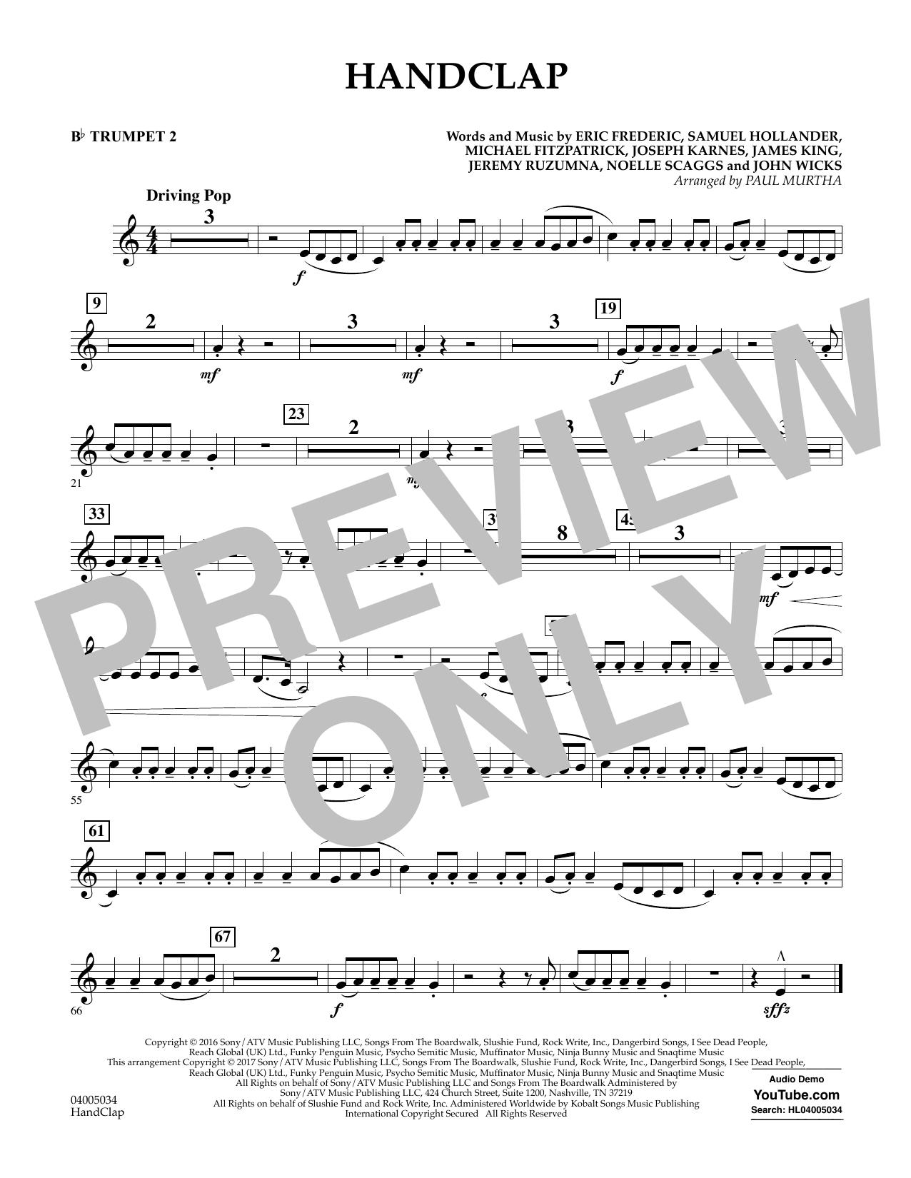 HandClap - Bb Trumpet 2 Sheet Music