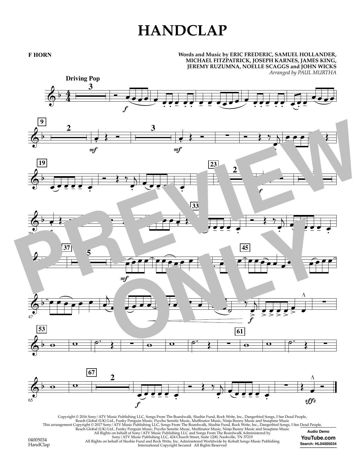 HandClap - F Horn Sheet Music