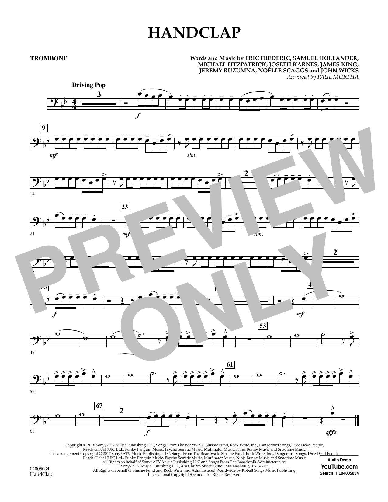 HandClap - Trombone Sheet Music