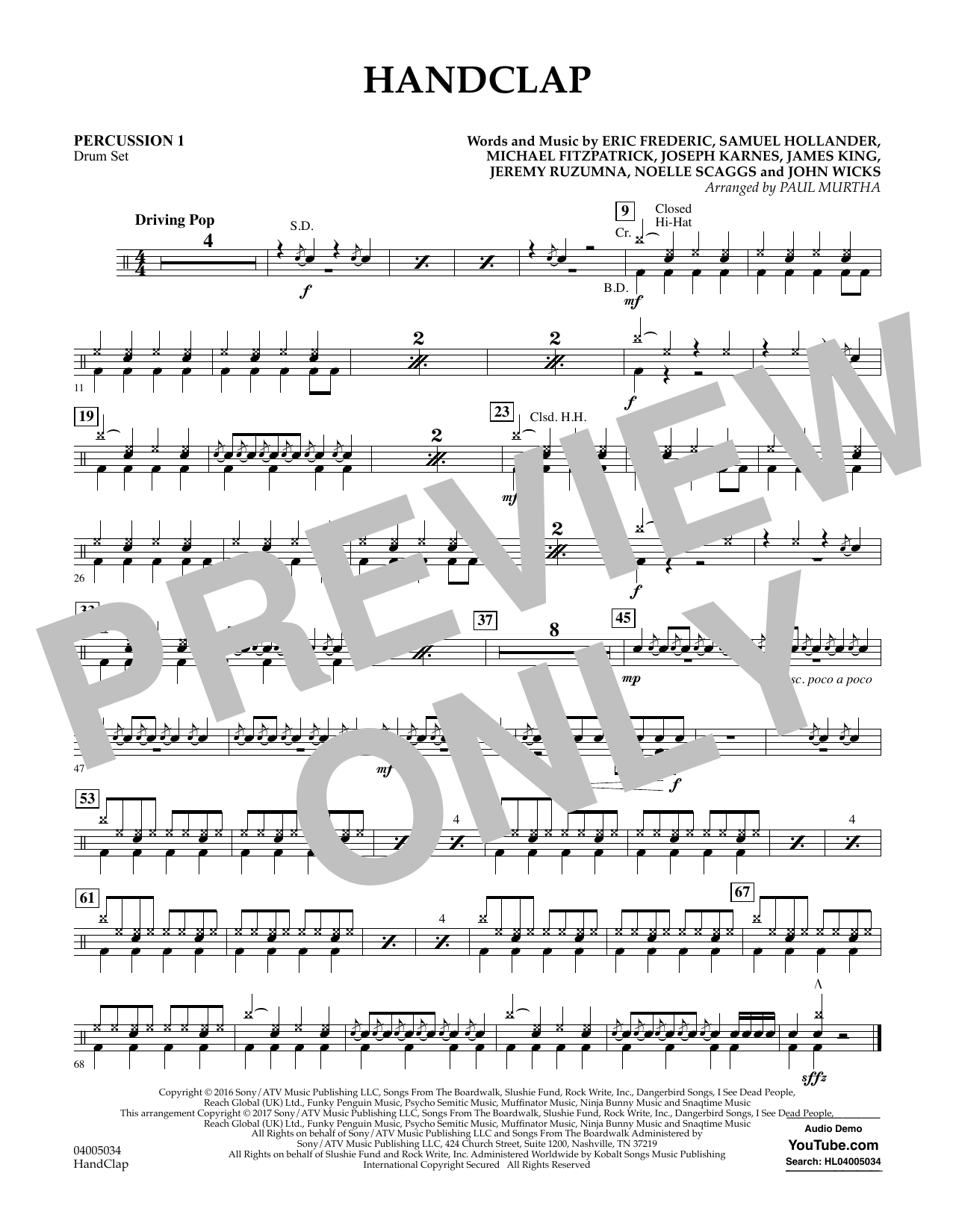 HandClap - Percussion 1 Sheet Music