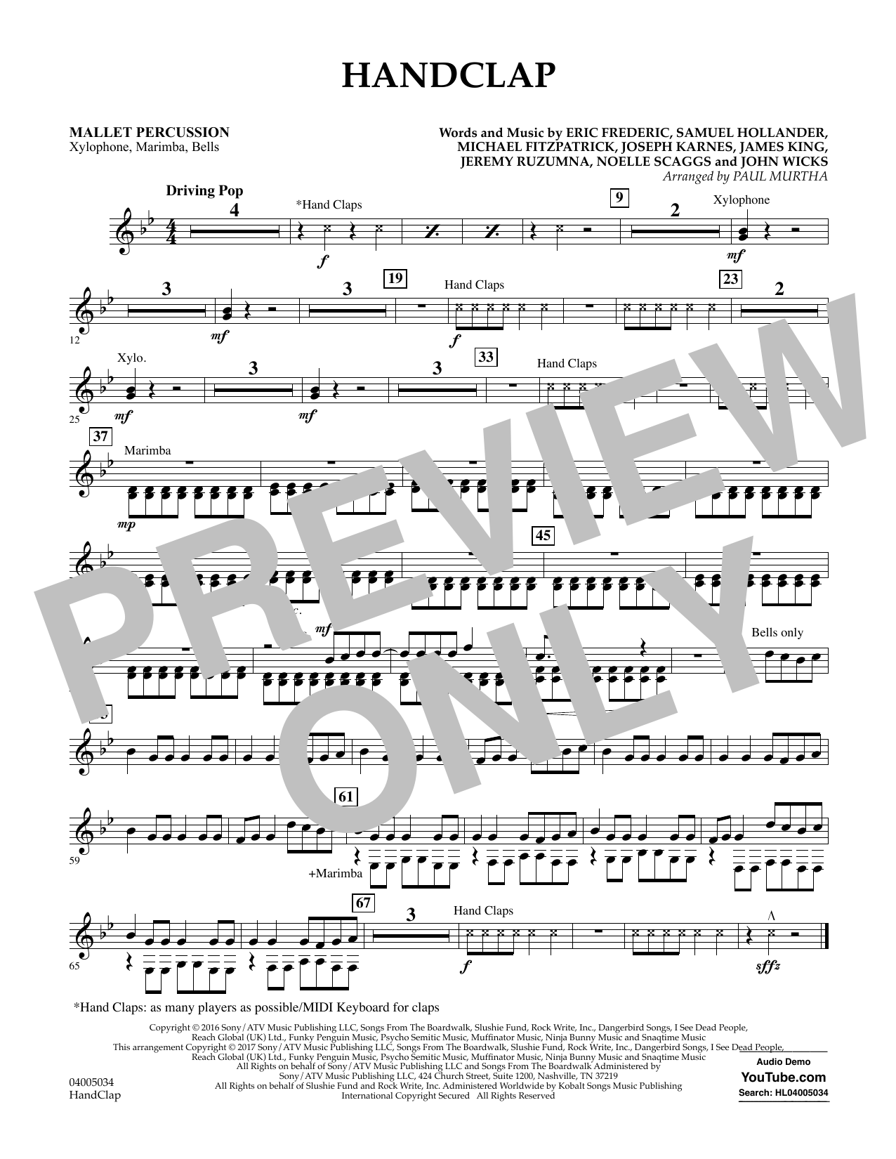 HandClap - Mallet Percussion Sheet Music