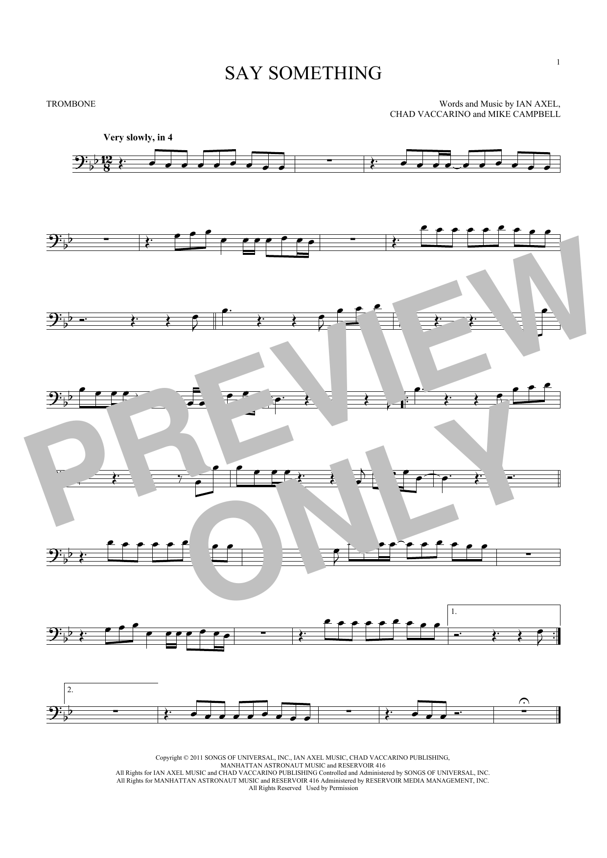 Say Something (Trombone Solo)
