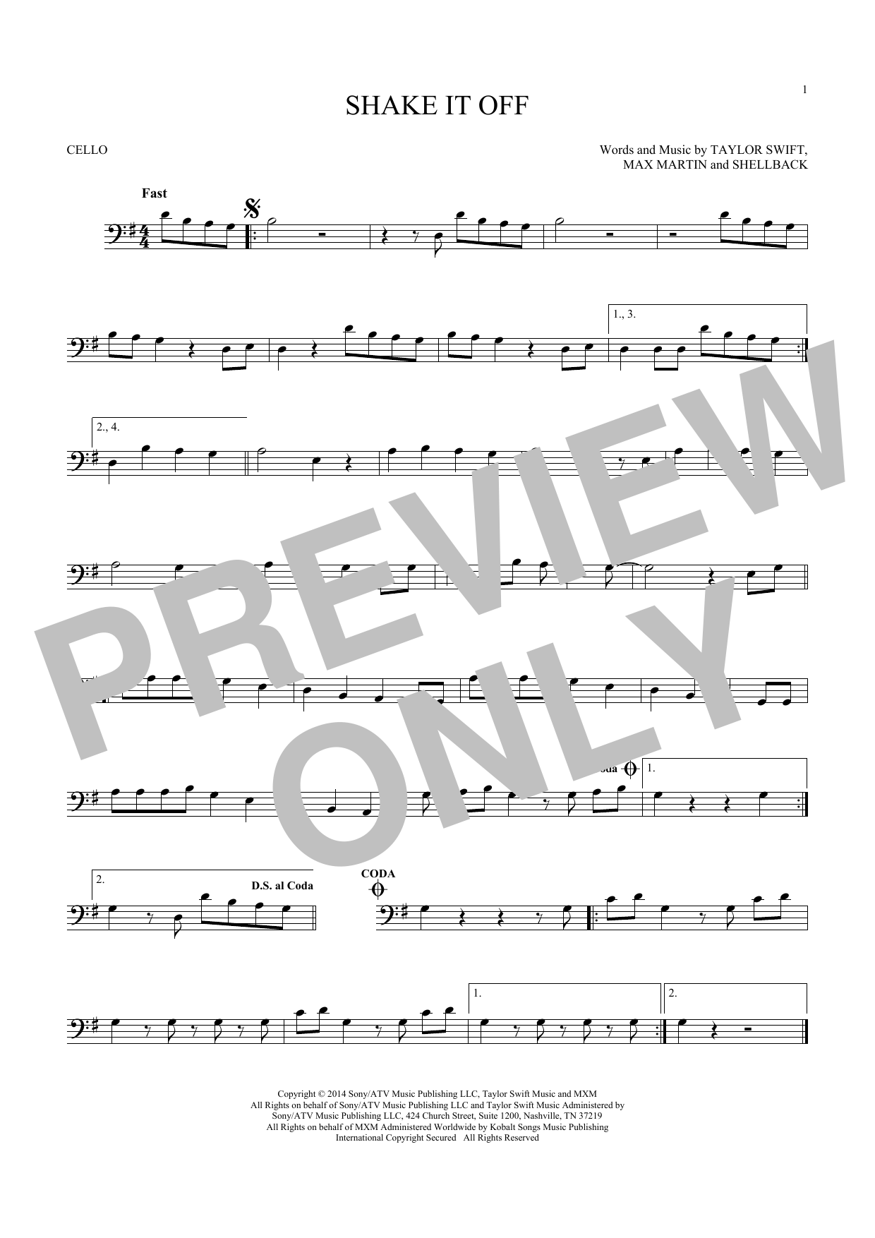 Shake It Off (Cello Solo)