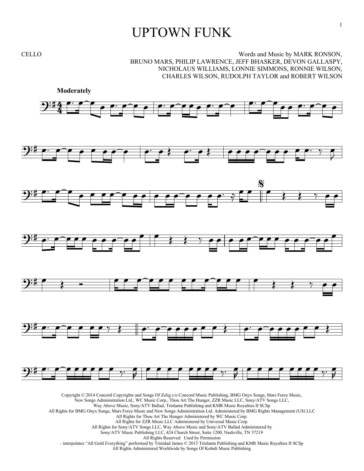 Uptown Funk (feat. Bruno Mars) (Cello Solo)