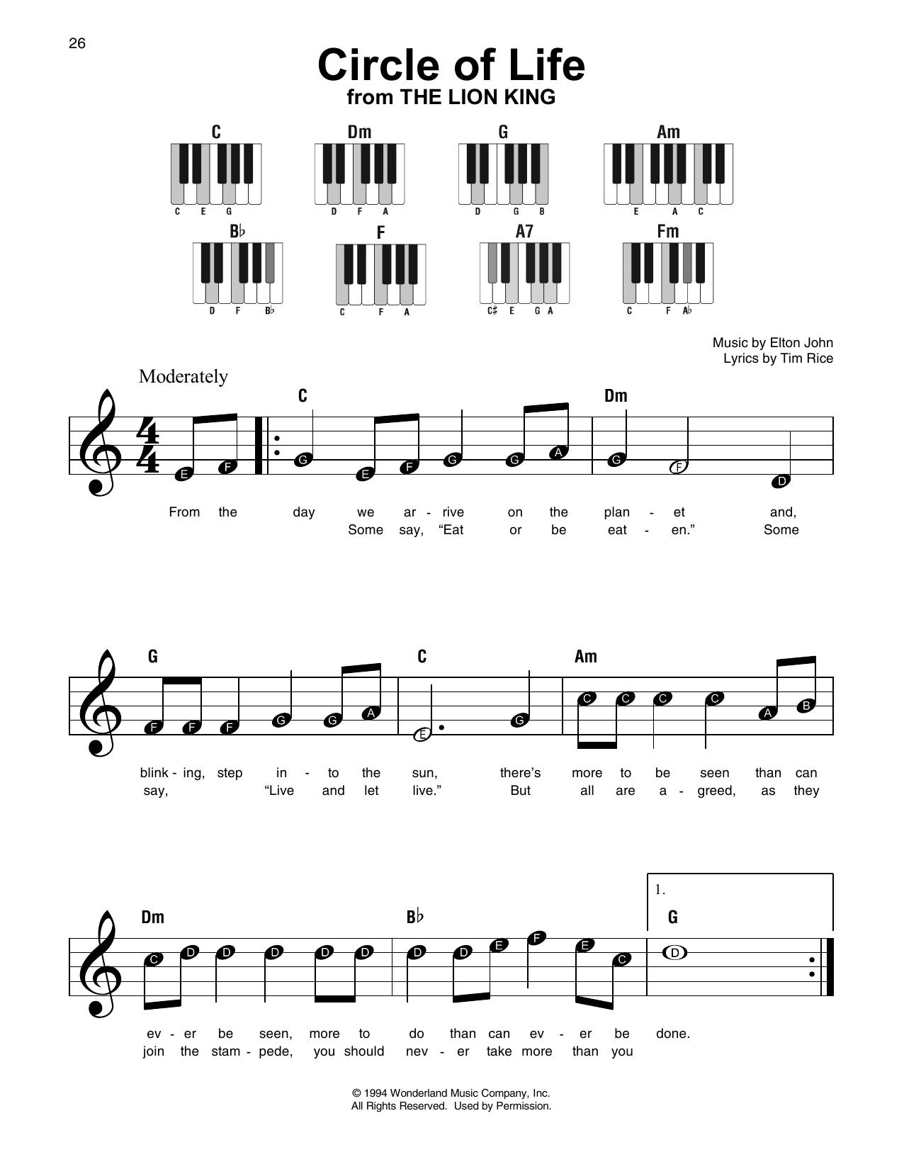 Circle Of Life (Super Easy Piano)