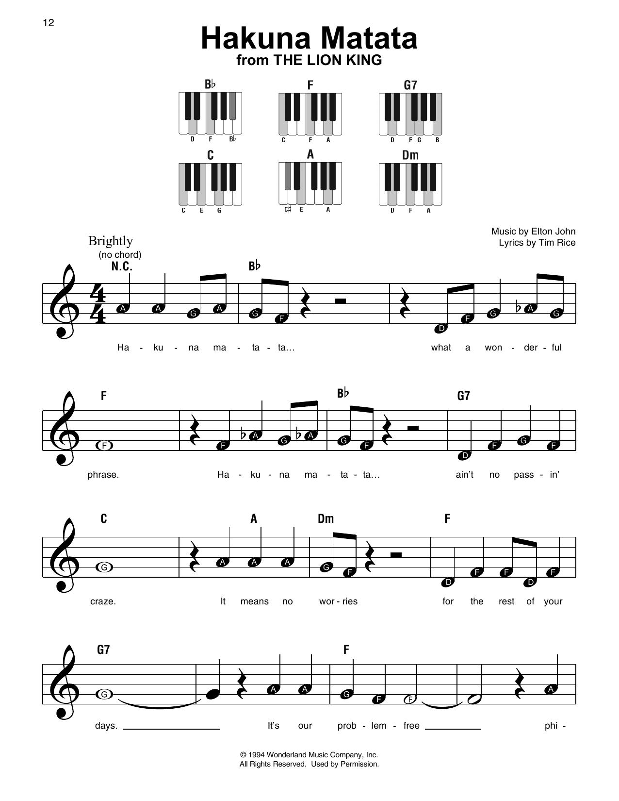 Hakuna matata sheet music direct sheet preview hexwebz Gallery