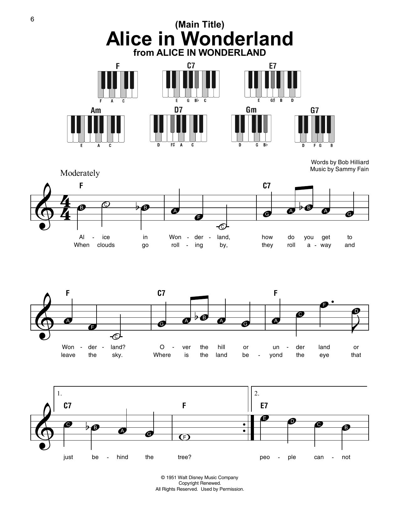 Main Title (Alice In Wonderland) (Super Easy Piano)