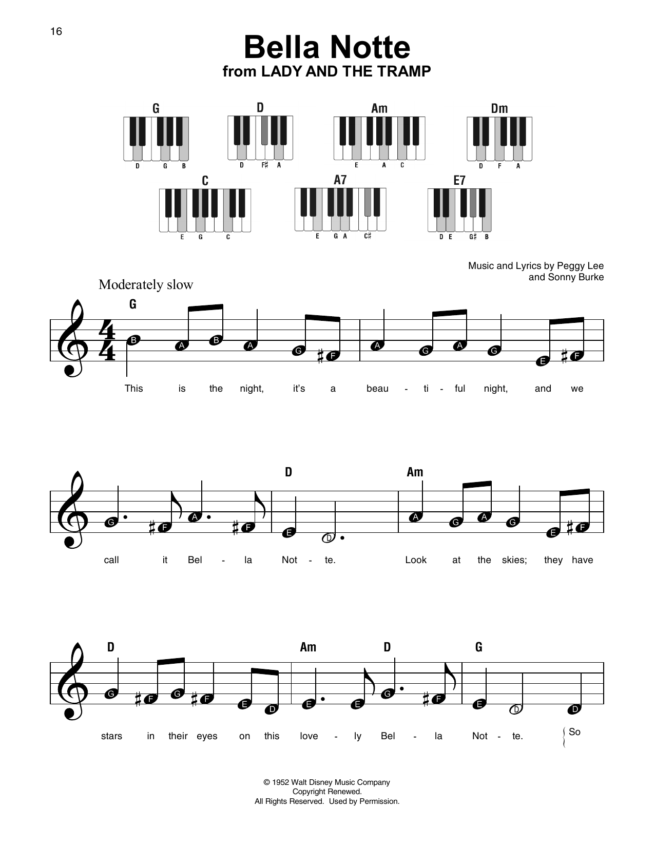 Bella Notte (from Lady And The Tramp) (Super Easy Piano)
