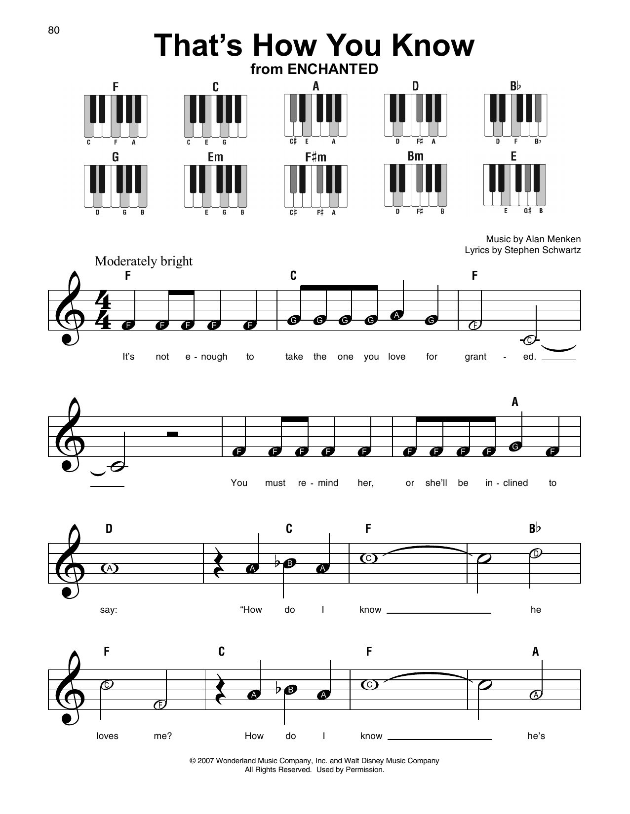 That's How You Know (from Enchanted) (Super Easy Piano)