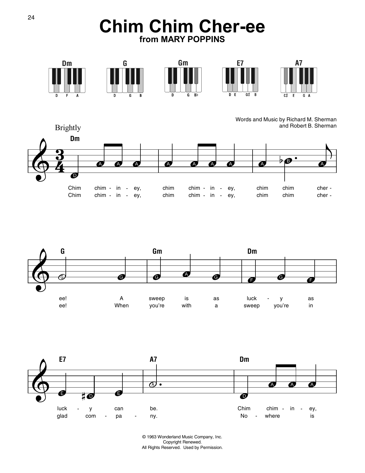 Chim Chim Cher-ee (Super Easy Piano)