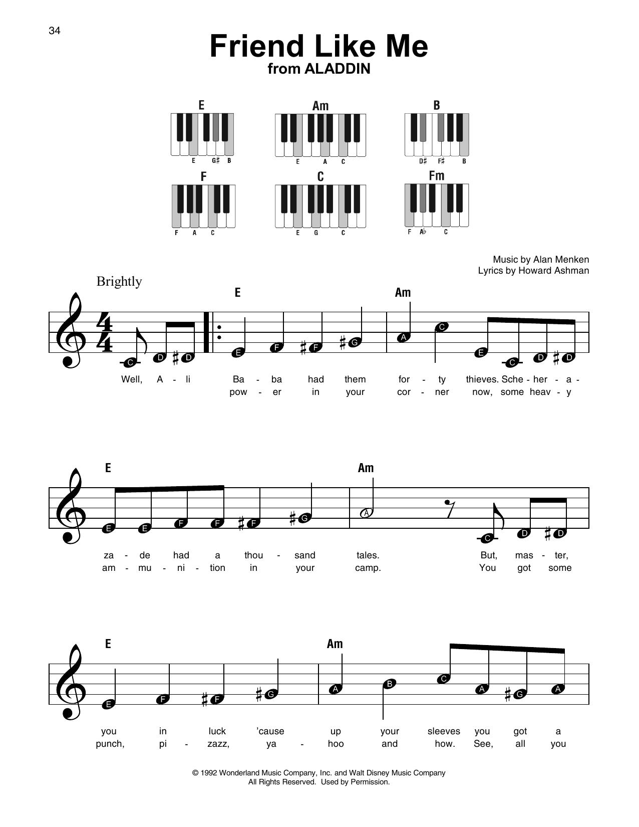 Friend Like Me (from Aladdin) (Super Easy Piano)