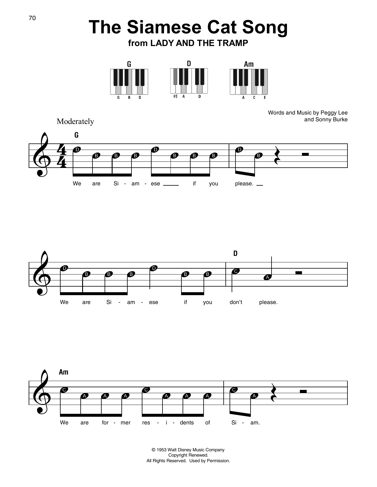 The Siamese Cat Song (from Lady And The Tramp) (Super Easy Piano)
