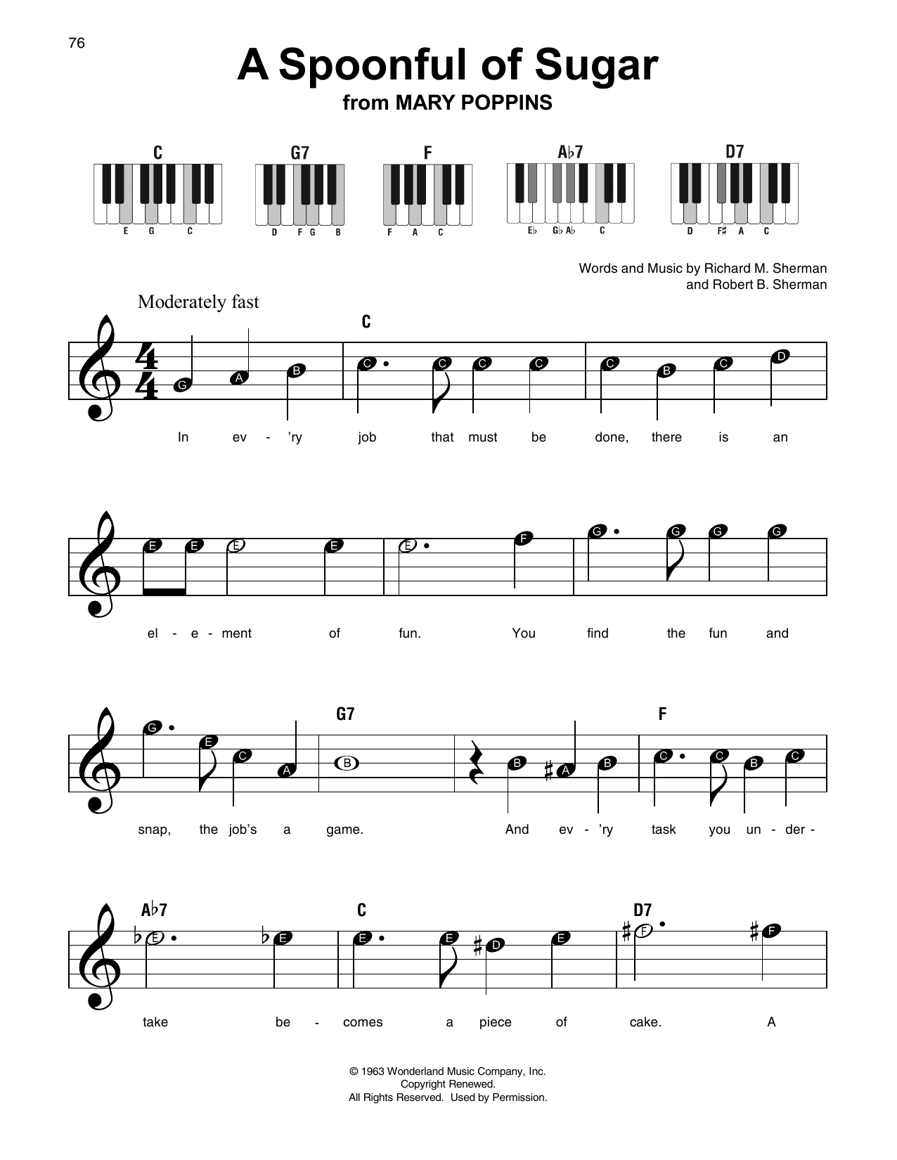 A Spoonful Of Sugar (from Mary Poppins) (Super Easy Piano)
