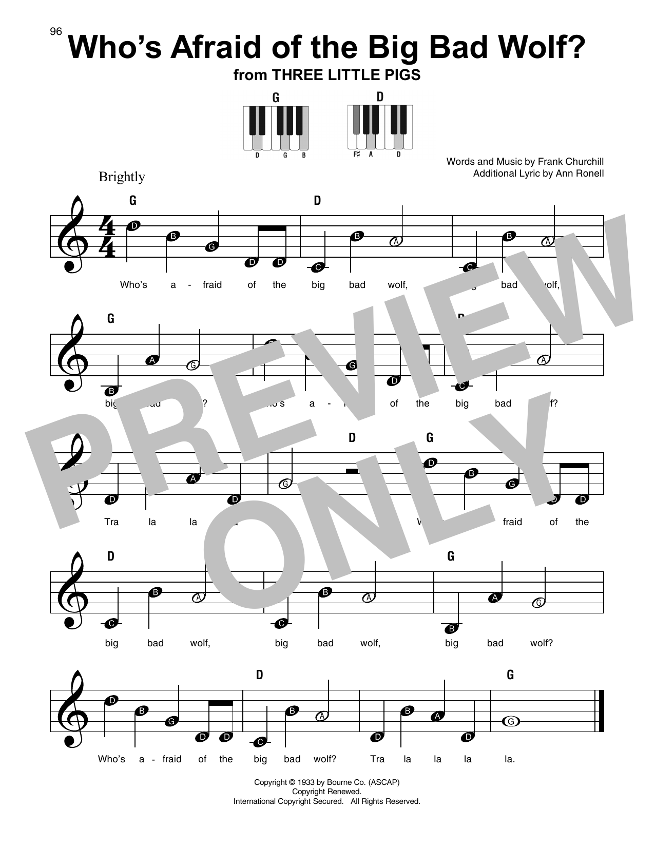 Who's Afraid Of The Big Bad Wolf? Sheet Music