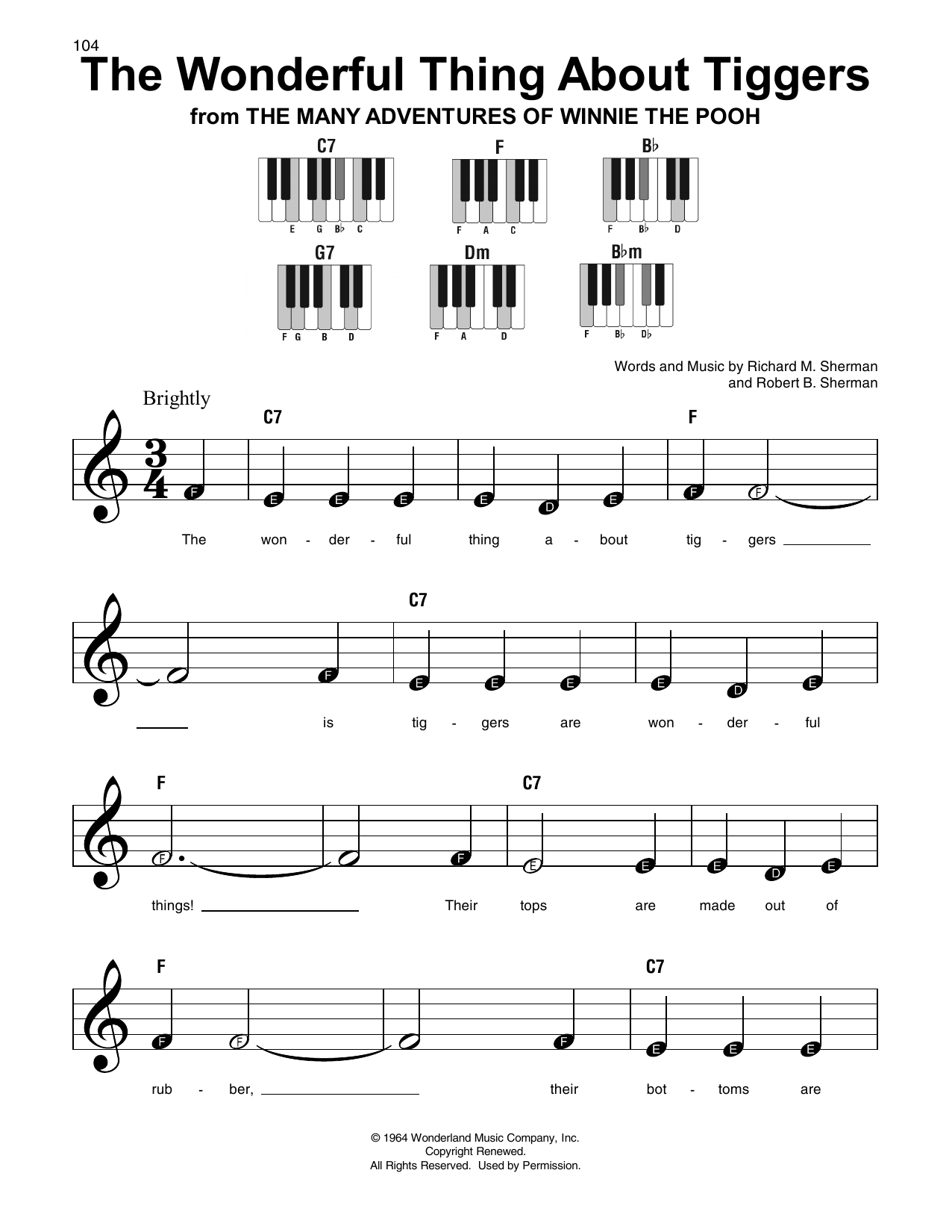 The Wonderful Thing About Tiggers (Super Easy Piano)