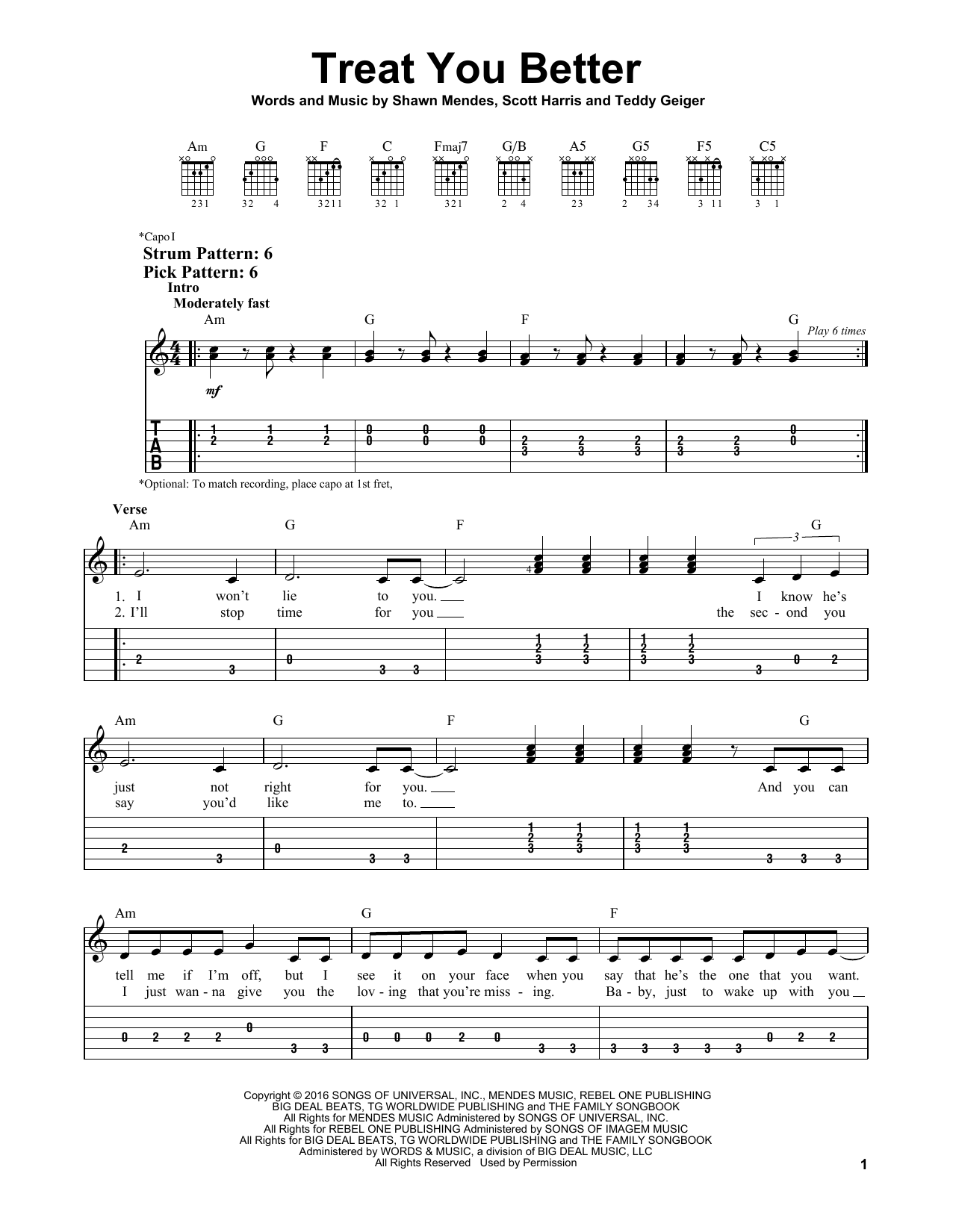 Treat You Better By Shawn Mendes Easy Guitar Tab Guitar Instructor