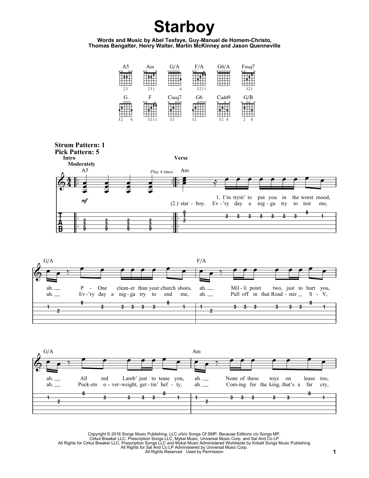 Starboy (Easy Guitar Tab)