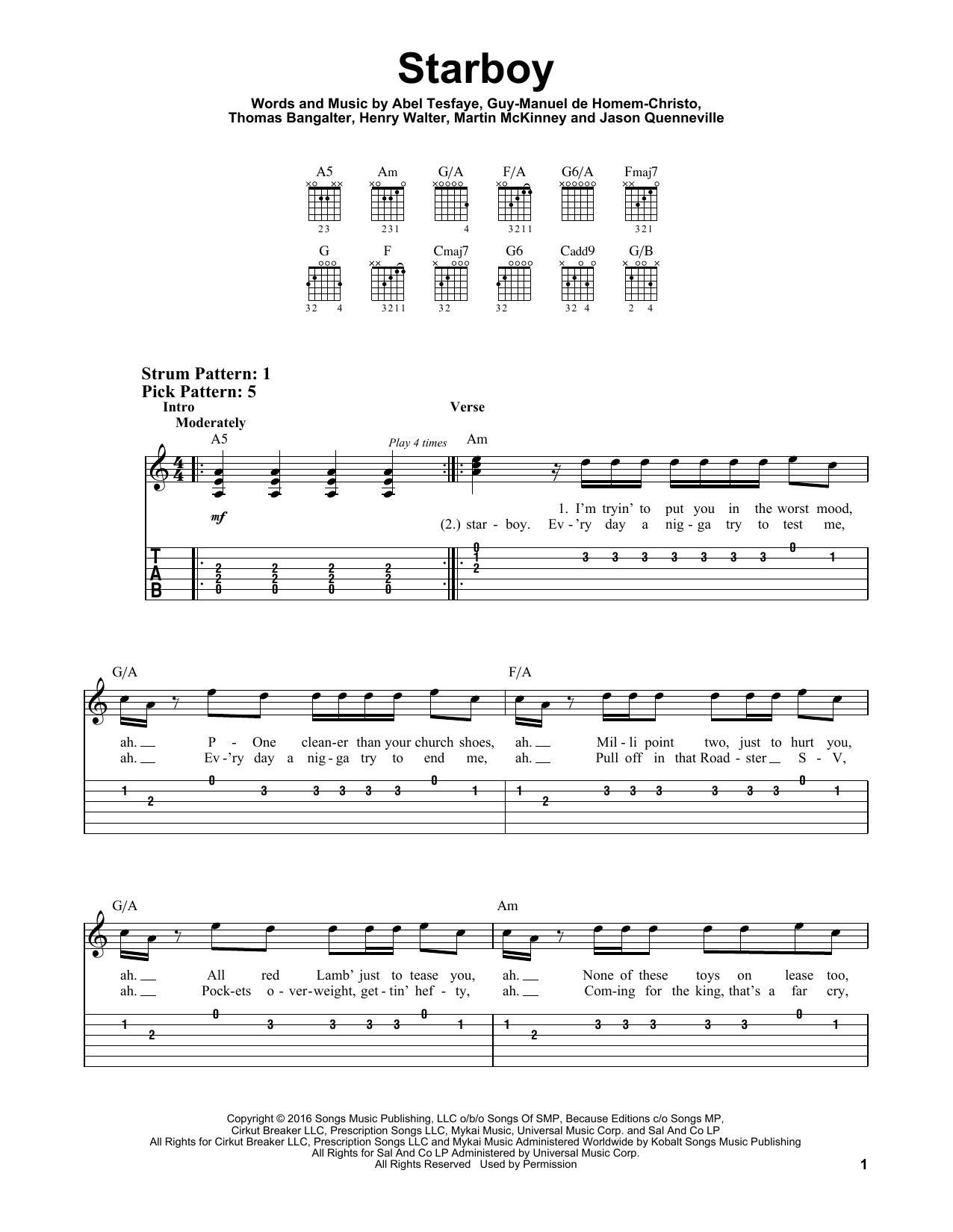 Starboy (feat. Daft Punk) (Easy Guitar Tab)
