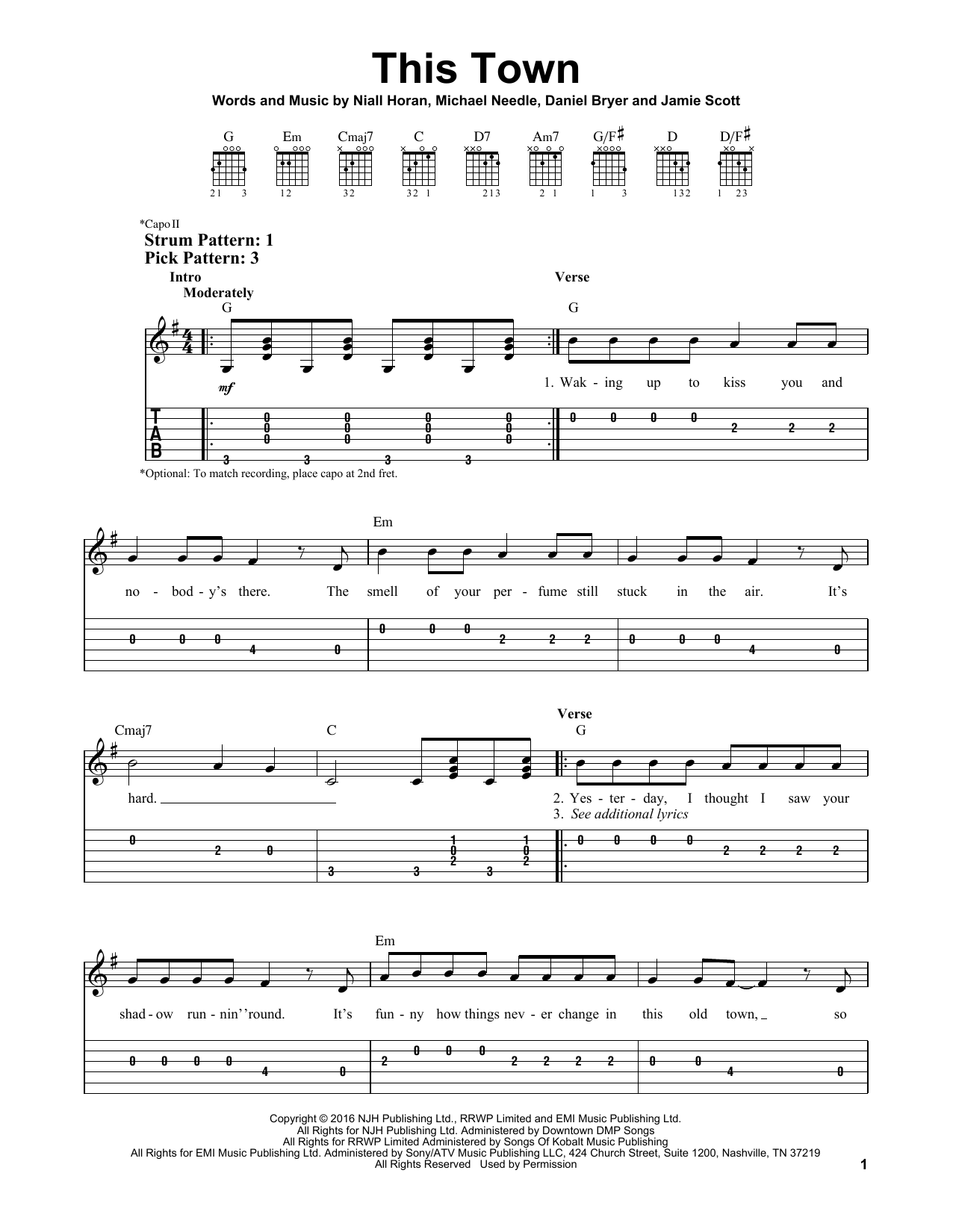 niall horan this town pdf sheet music