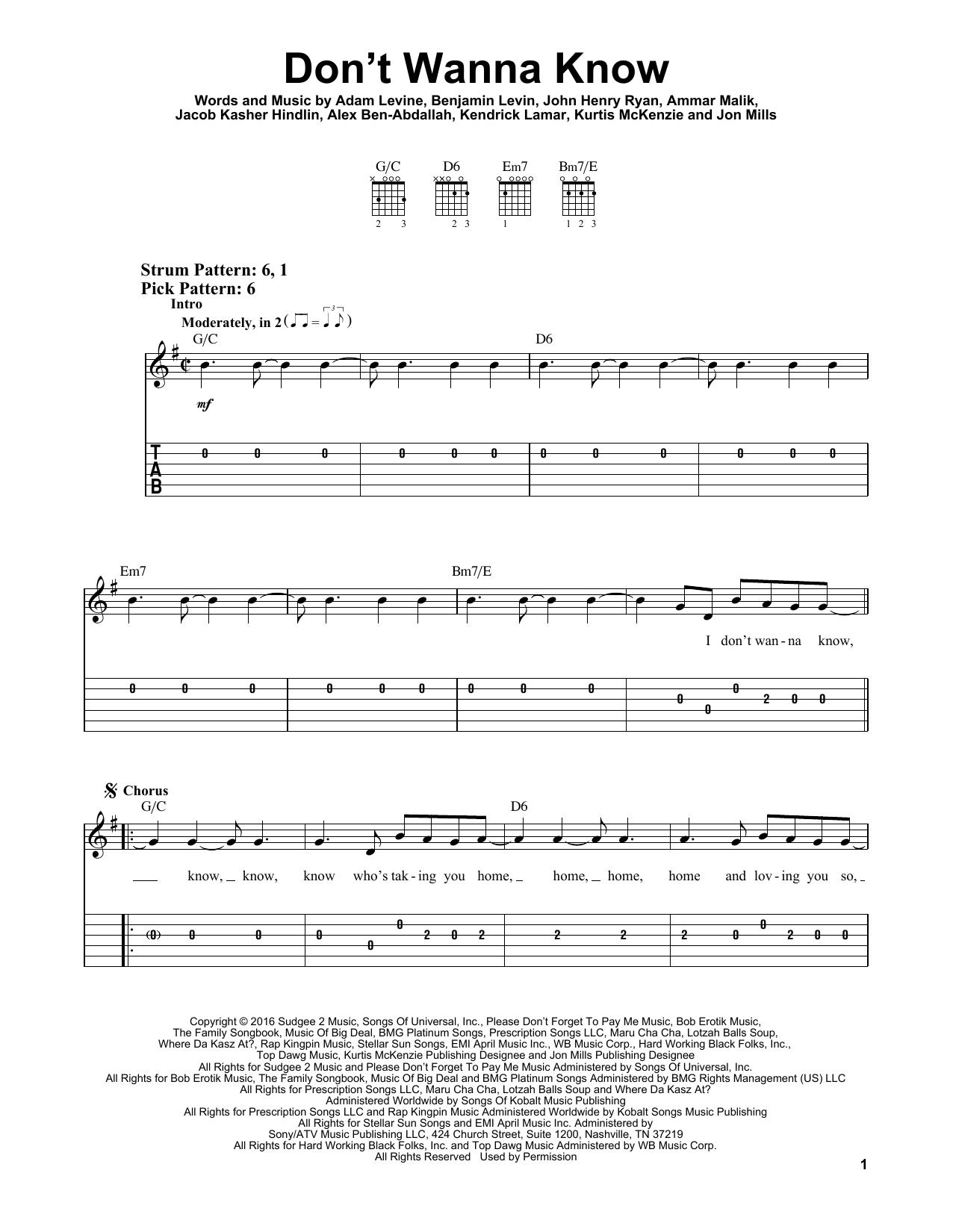 Don't Wanna Know (feat. Kendrick Lamar) (Easy Guitar Tab)