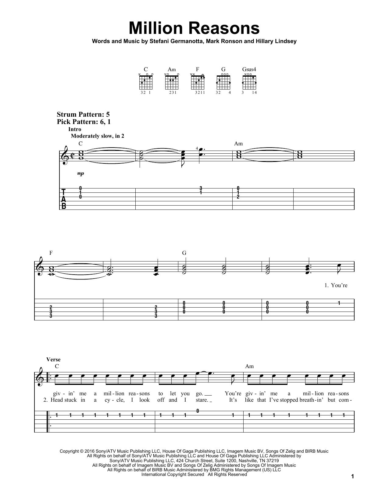 Million Reasons By Lady Gaga Easy Guitar Tab Guitar Instructor